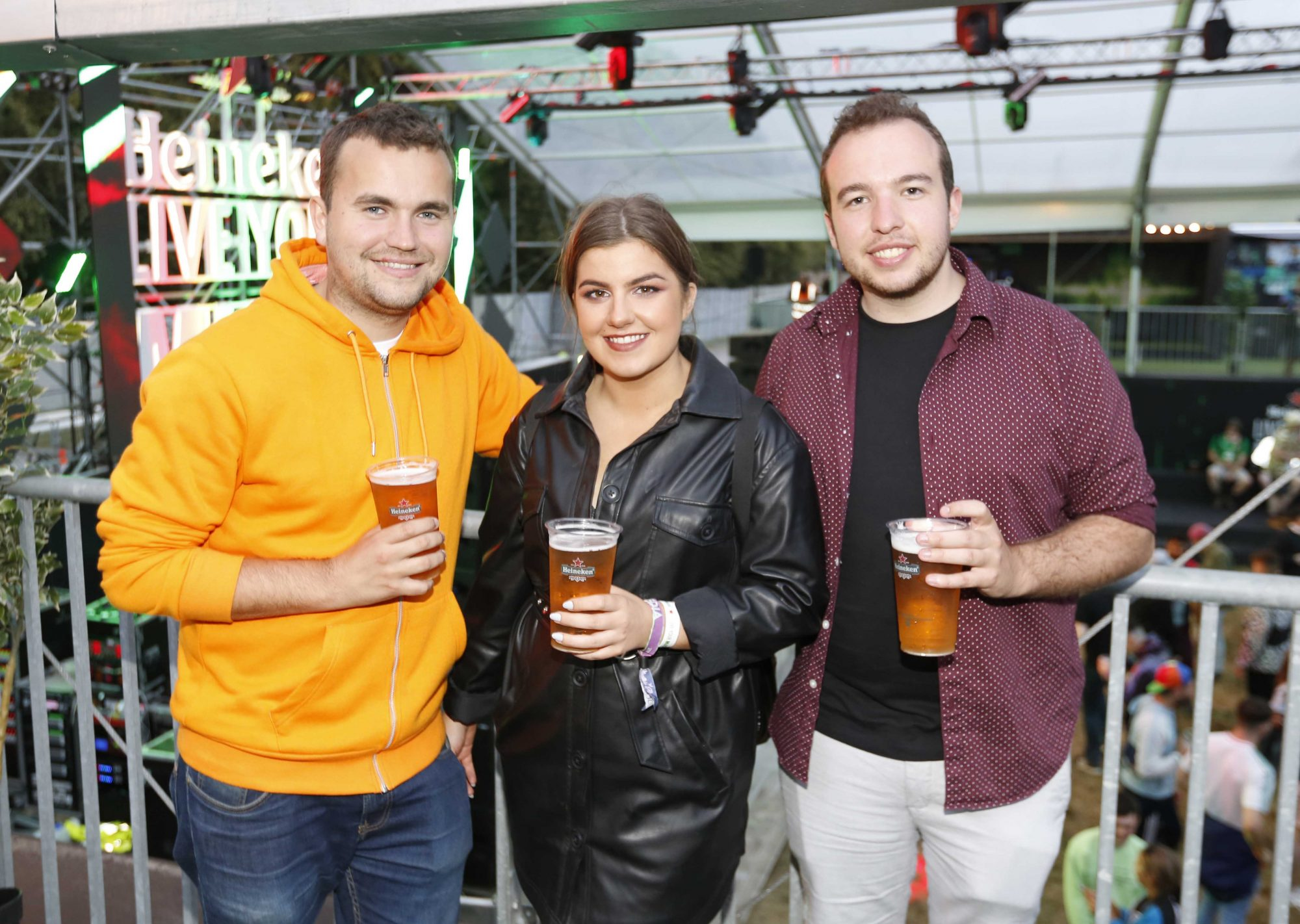 NO REPRO FEE 30/08/2019 Heineken Live Your Music Stage at Electric Picnic 2019. Pictured are (LtoR)  JP Kierans, Katie Gallagher and Mark Corcoran at the Heineken Live Your Music Stage at Electric Picnic 2019. This year's area is an enormous structure on two levels, with a glass roof that will keep festival-goers dry but let them dance beneath the sun and stars! The immersive and interactive lightshow has been reimagined for 2019 which, combined with the state-of-the-art soundsystem, make Live Your Music the most impressive festival stage in the country. Photo: Sasko Lazarov/Phorocall Ireland