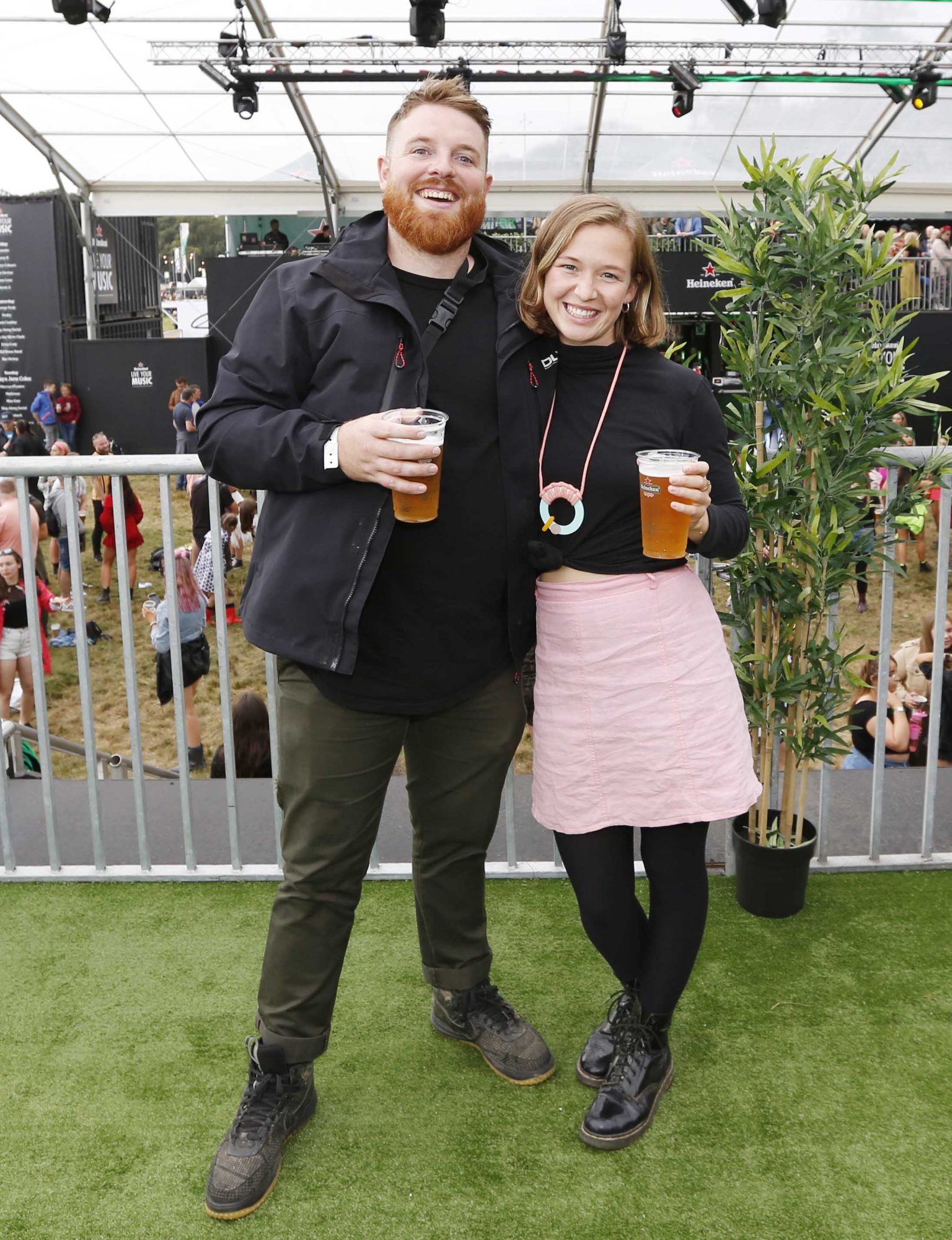 NO REPRO FEE 30/08/2019 Heineken Live Your Music Stage at Electric Picnic 2019. Pictured are (LtoR) Taz kelleher and Marcus O'Laoire at the Heineken Live Your Music Stage at Electric Picnic 2019. This year's area is an enormous structure on two levels, with a glass roof that will keep festival-goers dry but let them dance beneath the sun and stars! The immersive and interactive lightshow has been reimagined for 2019 which, combined with the state-of-the-art soundsystem, make Live Your Music the most impressive festival stage in the country. Photo: Sasko Lazarov/Phorocall Ireland