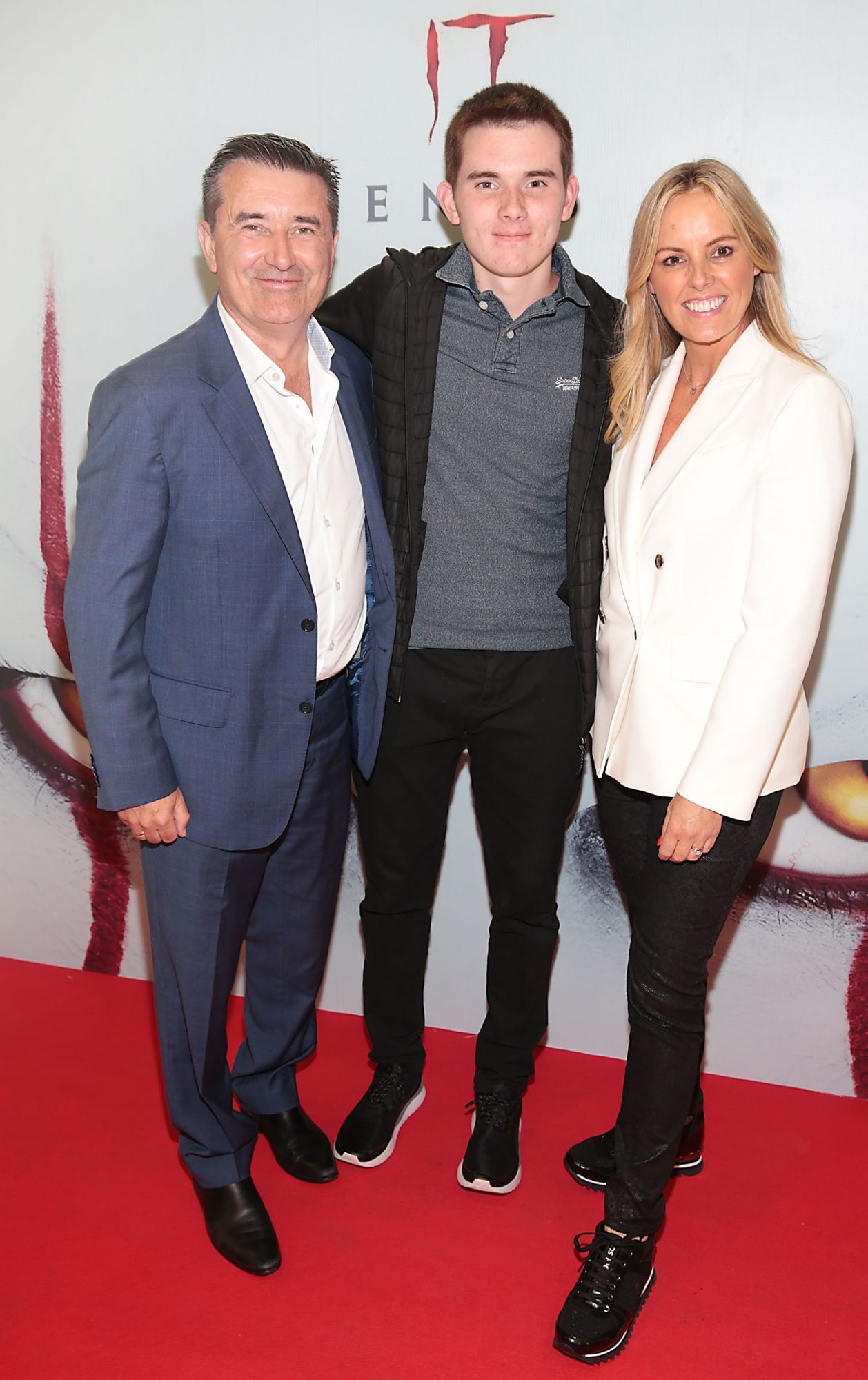 Martin King ,Alex King and Jenny McCarthy at the Irish premiere of IT Chapter 2 at the Odeon Cinema in Point Square, Dublin. Pic: Brian McEvoy.
