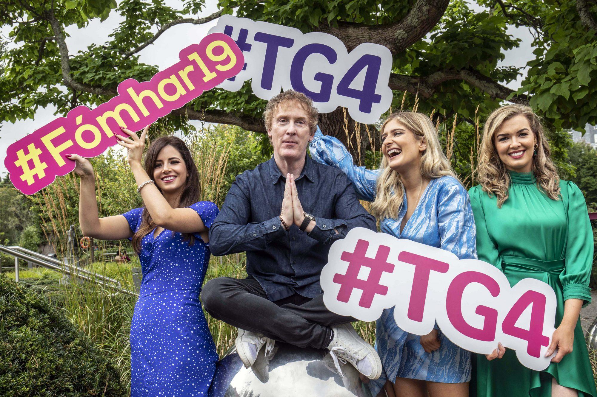 Fiona Ní Fhlaihearta, Hector Ó hEochagáin, Doireann Ní Ghlacáin & Caitlín Nic Aoidh pictured at TG4's Autumn Schedule Launch in the stunning Fitzgerald Park in Cork.  Picture Clare Keogh