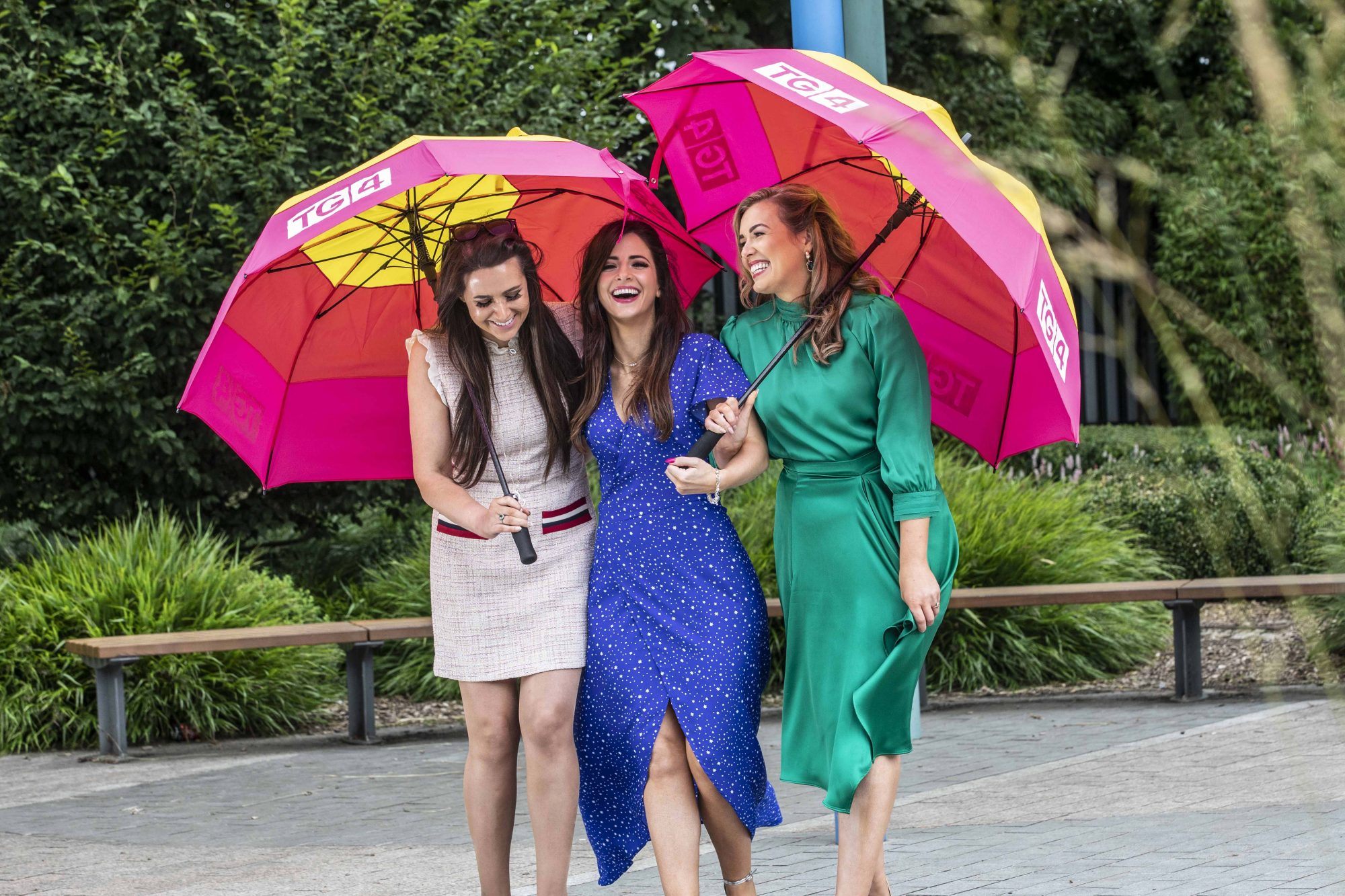 Mairead Ní Chuaig, Fiona Ní Fhlaithearta and Caitlín Nic Aoidh pictured at TG4's Autumn Schedule Launch in the stunning Fitzgerald Park in Cork.  Picture Clare Keogh