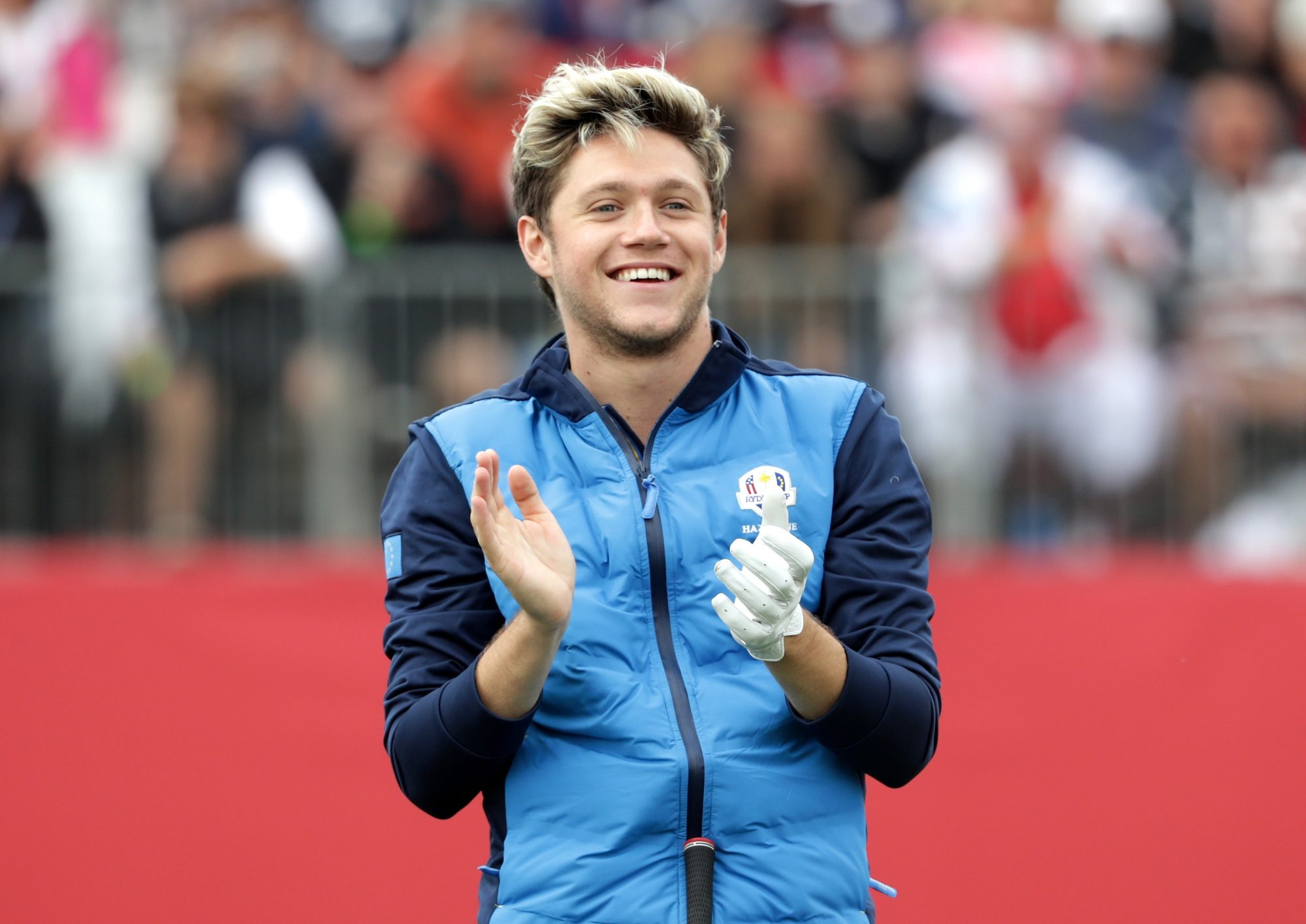 CHASKA, MN - SEPTEMBER 27:  Singer Niall Horan of Europe prepares to hit off the first tee during the 2016 Ryder Cup Celebrity Matches at Hazeltine National Golf Club on September 27, 2016 in Chaska, Minnesota.  (Photo by Streeter Lecka/Getty Images)