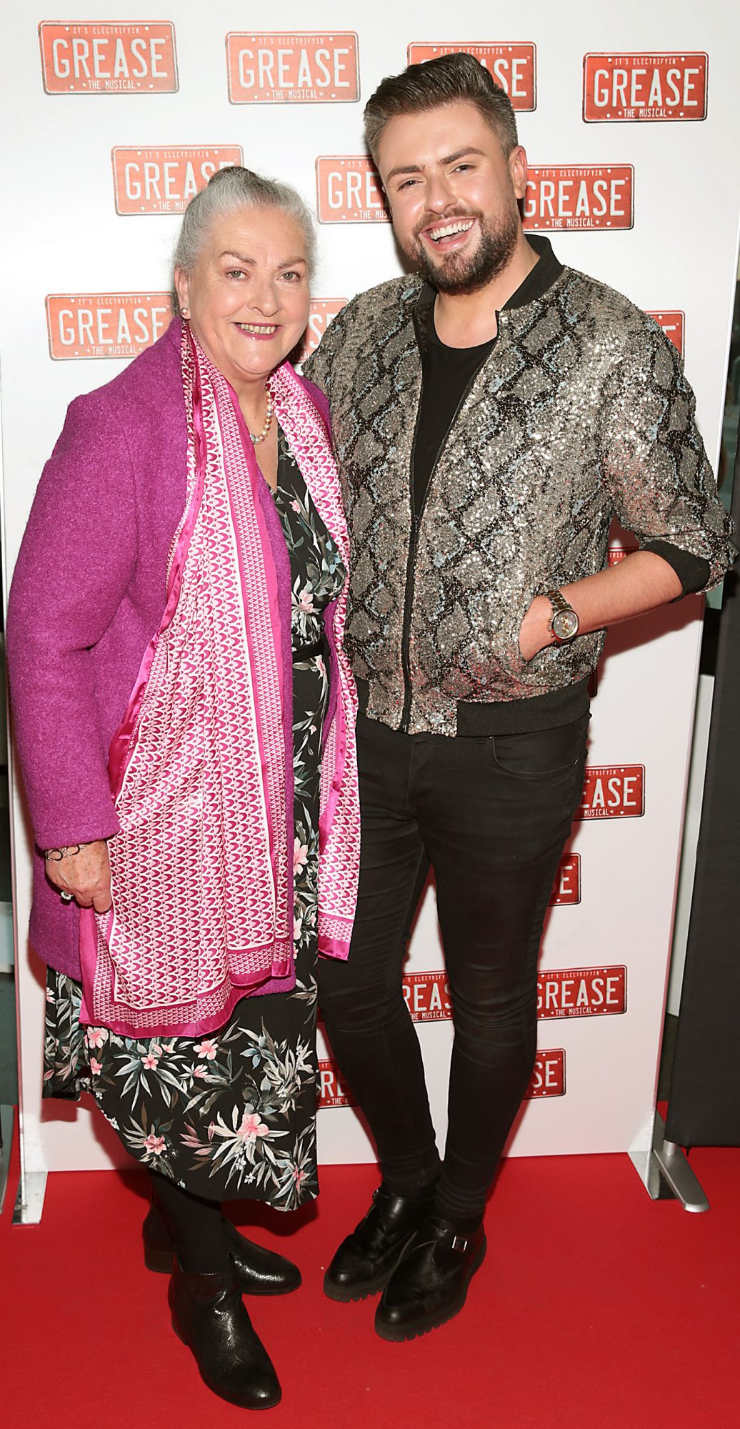 Fron Butler and James Patrice Butler pictured at the opening night of the musical Grease at the Bord Gais Energy Theatre, Dublin. Pic: Brian McEvoy
