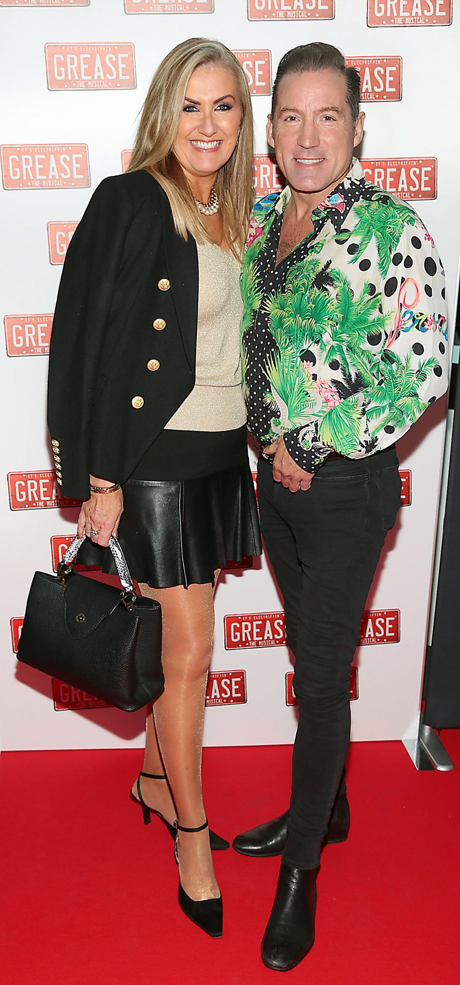 Derville Meade and Julian Benson pictured at the opening night of the musical Grease at the Bord Gais Energy Theatre, Dublin. Pic: Brian McEvoy