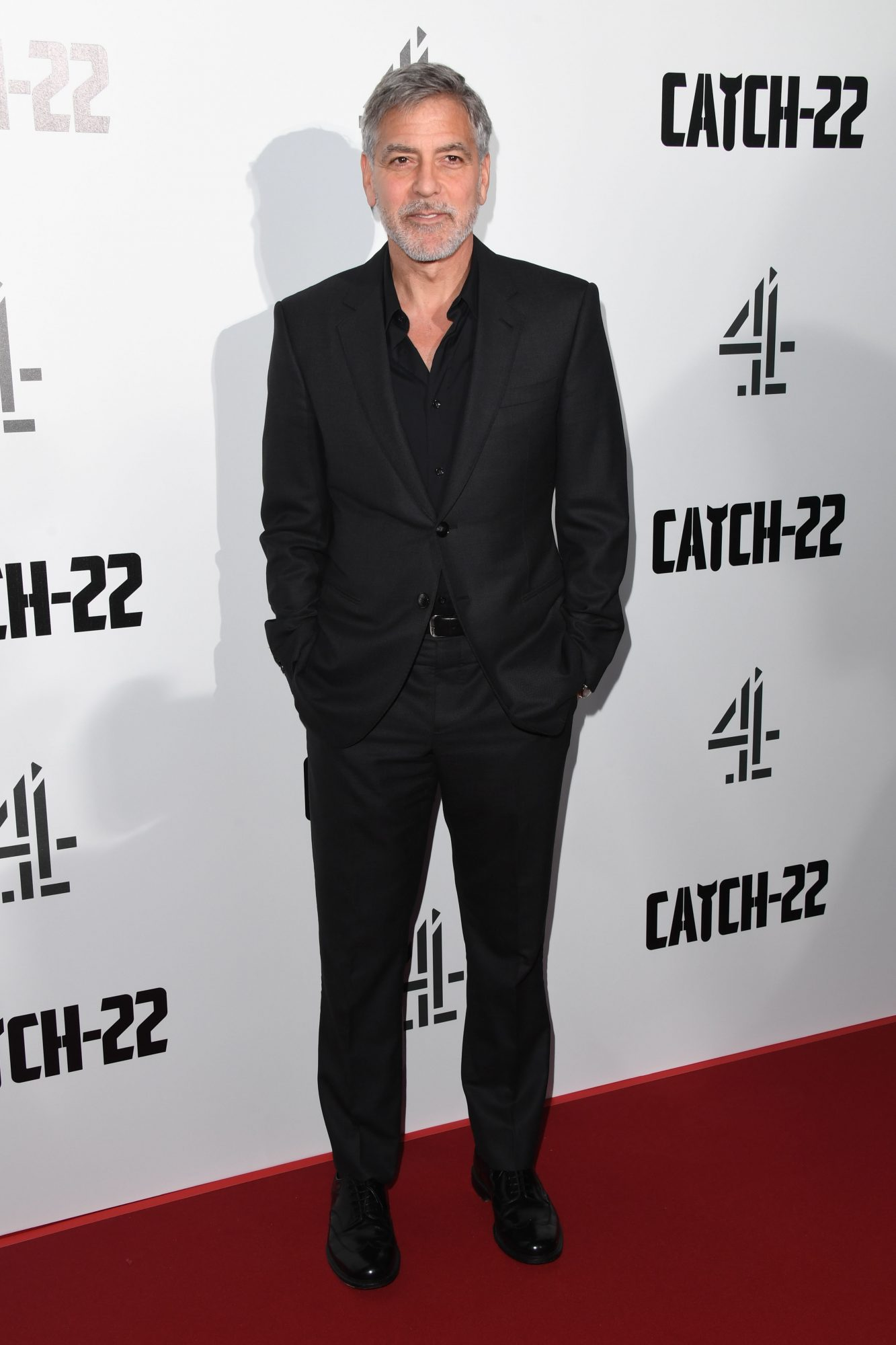 """LONDON, ENGLAND - MAY 15: George Clooney attends the """"Catch 22"""" UK premiere on May 15, 2019 in London, United Kingdom. (Photo by Stuart C. Wilson/Getty Images)"""