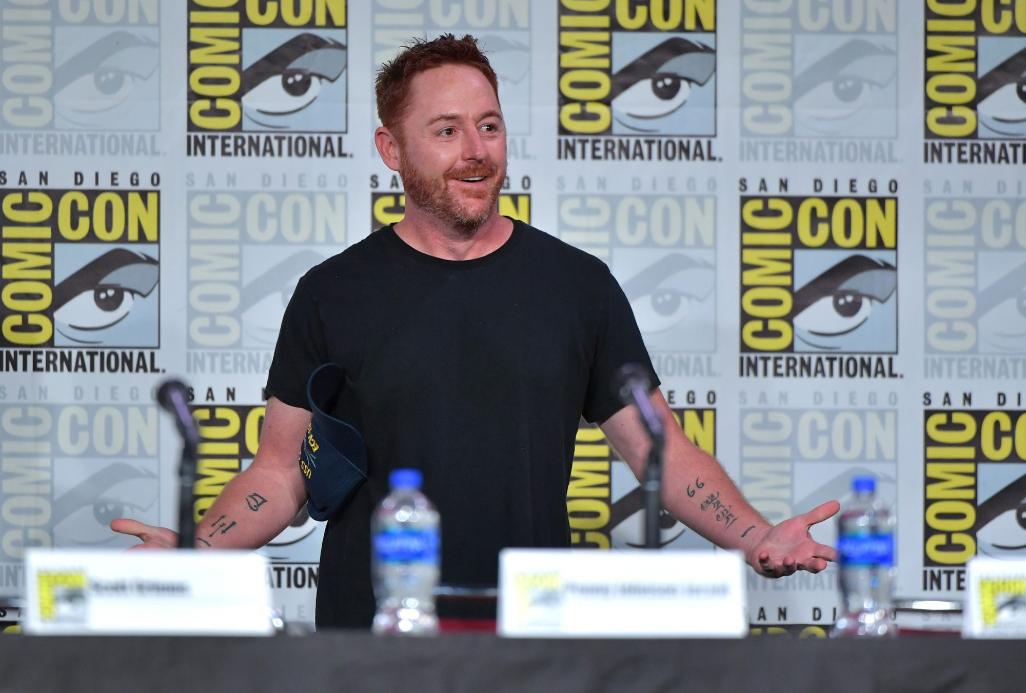 """SAN DIEGO, CALIFORNIA - JULY 20: Scott Grimes speaks at """"The Orville"""" Panel during 2019 Comic-Con International at San Diego Convention Center on July 20, 2019 in San Diego, California. (Photo by Amy Sussman/Getty Images)"""