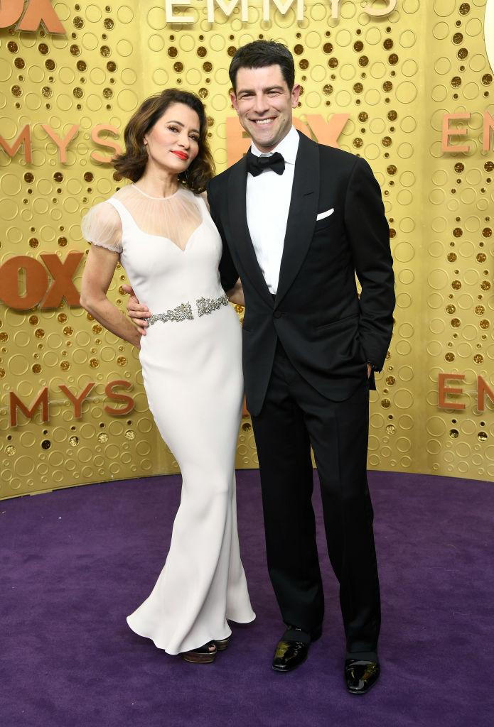 Tess Sanchez and Max Greenfield attend the 71st Emmy Awards at Microsoft Theater on September 22, 2019 in Los Angeles, California. (Photo by Frazer Harrison/Getty Images)