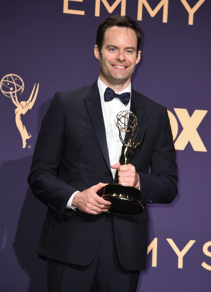 US actor Bill Hader poses with the Emmy for Outstanding Lead Actor in a Comedy Series award for 'Barry' during the 71st Emmy Awards at the Microsoft Theatre in Los Angeles on September 22, 2019. (Photo by Robyn Beck/Getty Images)