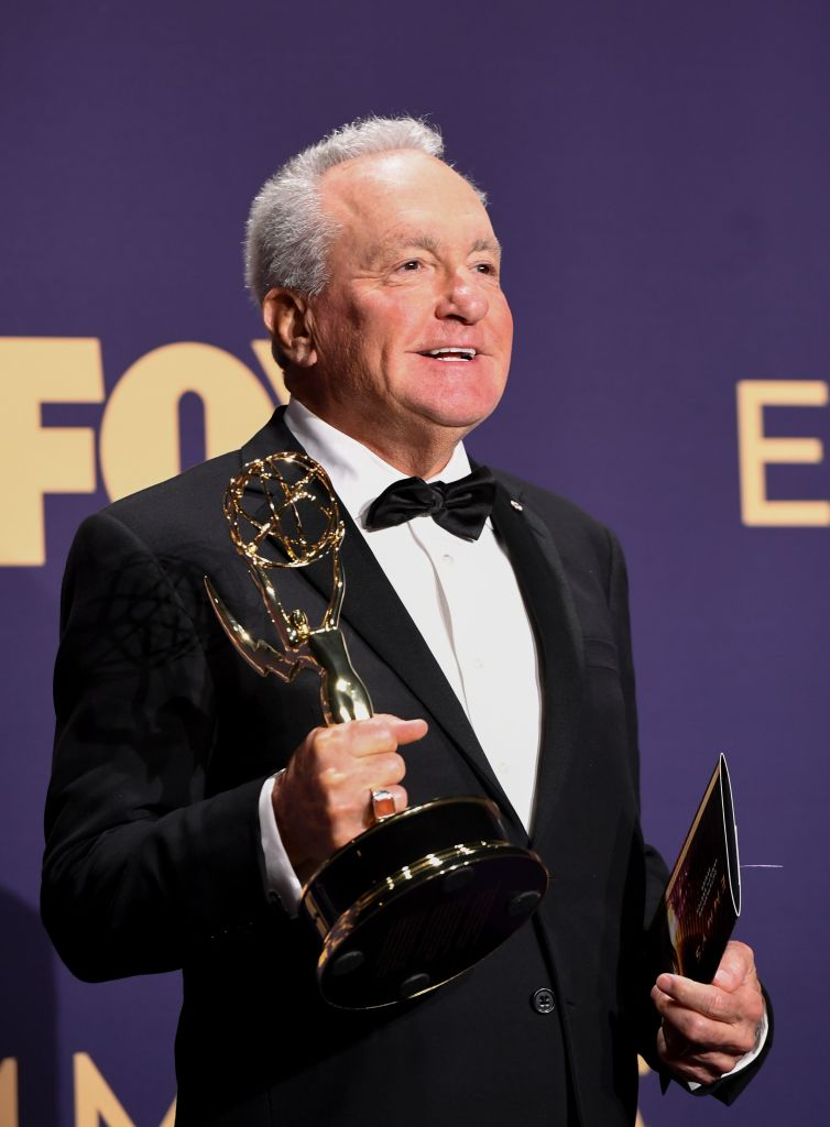 "Producer Lorne Michaels poses with the Outstanding Variety Sketch Series award for ""Saturday Night Live"" during the 71st Emmy Awards at the Microsoft Theatre in Los Angeles on September 22, 2019. (Photo by Robyn Beck/Getty Images)"
