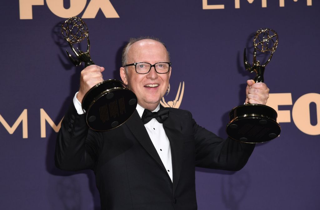 "Harry Bradbeer poses with the Emmy for Outstanding Directing for a Comedy Series award for ""Fleabag"" during the 71st Emmy Awards at the Microsoft Theatre in Los Angeles on September 22, 2019. (Photo by Robyn Beck/Getty Images)"