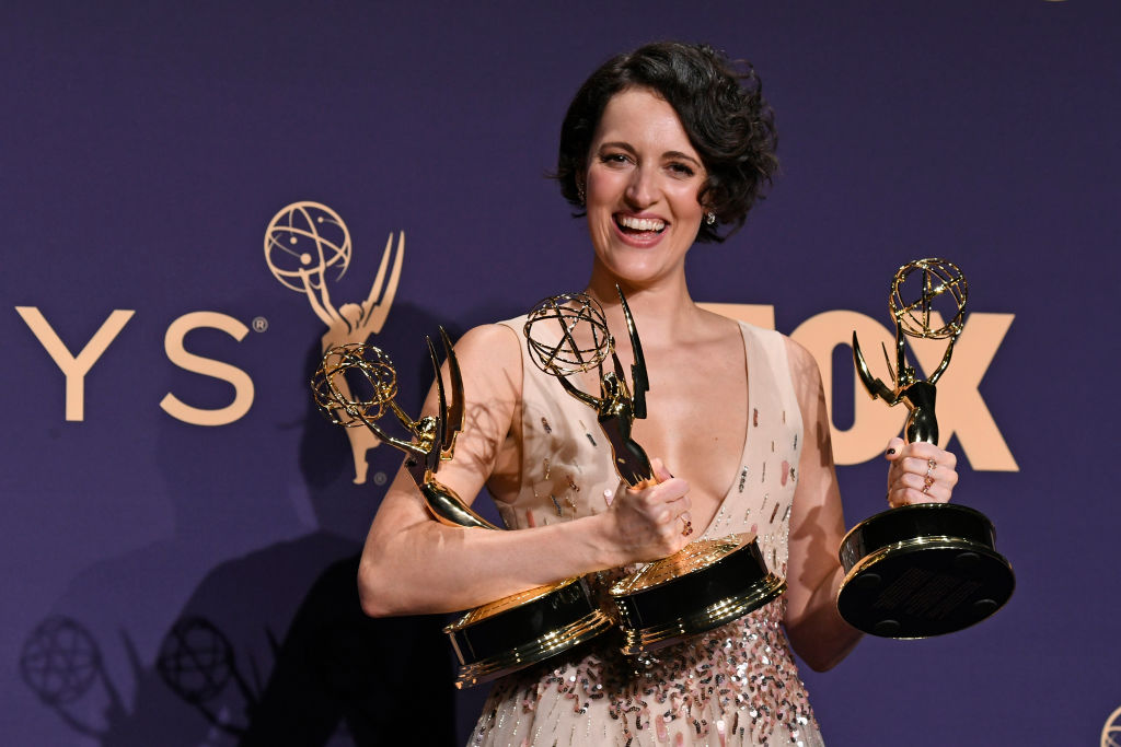 Phoebe Waller-Bridge poses with awards for Outstanding Comedy Series, Outstanding Lead Actress in a Comedy Series, and Outstanding Directing for a Comedy Series in the press room during the 71st Emmy Awards at Microsoft Theater on September 22, 2019 in Los Angeles, California. (Photo by Frazer Harrison/Getty Images)