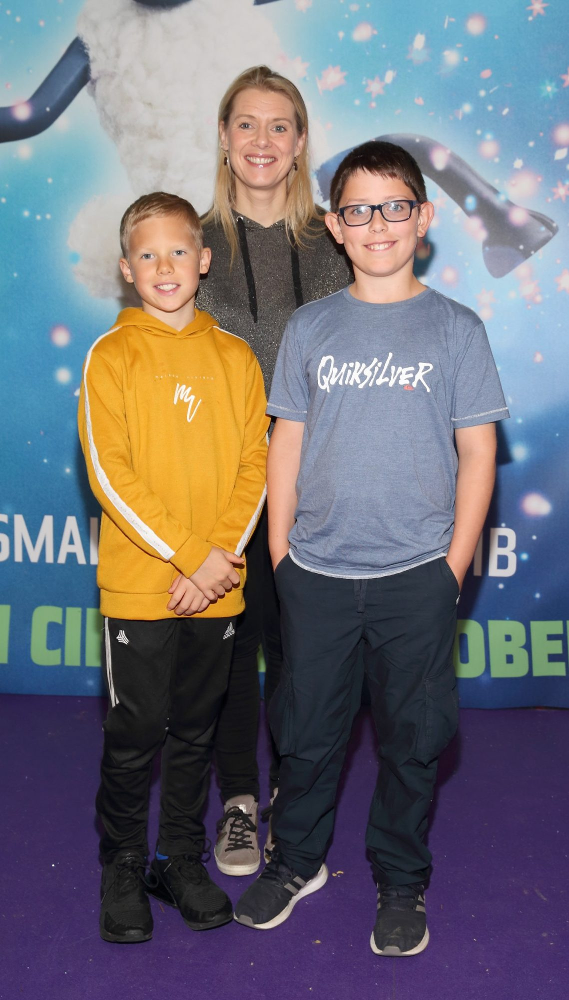 Brodie Ryan, Edel Ryan and Dylan Clelland  at the special preview screening of Shaun the Sheep at the Odeon Cinema In Point Square, Dublin.  Pic: Brian McEvoy Photography