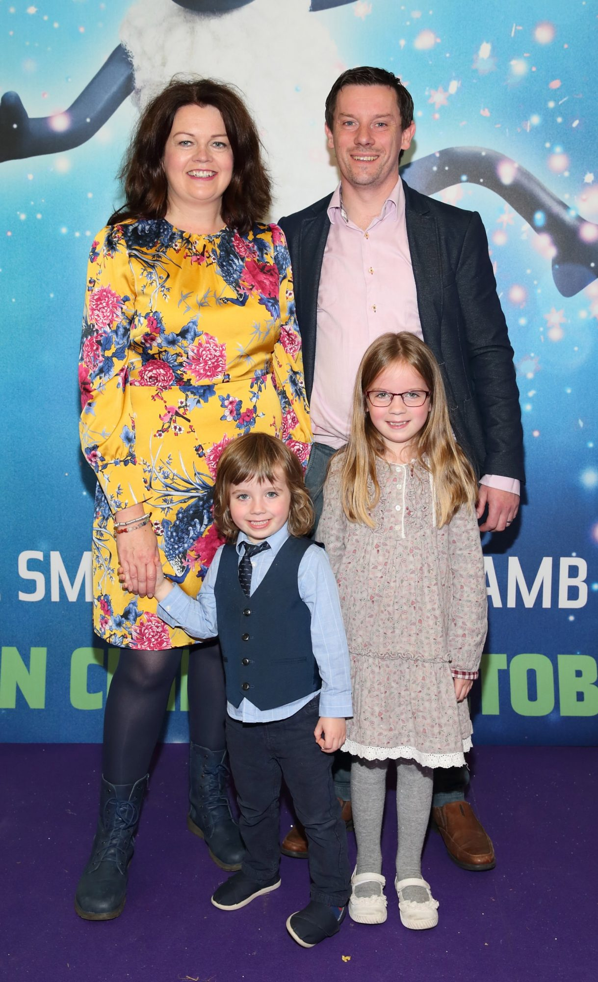 Suzanne Winston, Garret Winston, Turlach Winston and Clodagh Winston at the special preview screening of Shaun the Sheep at the Odeon Cinema In Point Square, Dublin.  Pic: Brian McEvoy Photography