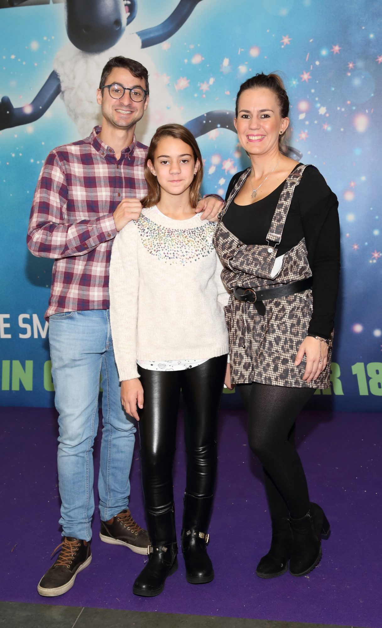 Jose Moreno, Zaira Moreno and Lidia Moreno at the special preview screening of Shaun the Sheep at the Odeon Cinema In Point Square, Dublin.  Pic: Brian McEvoy Photography