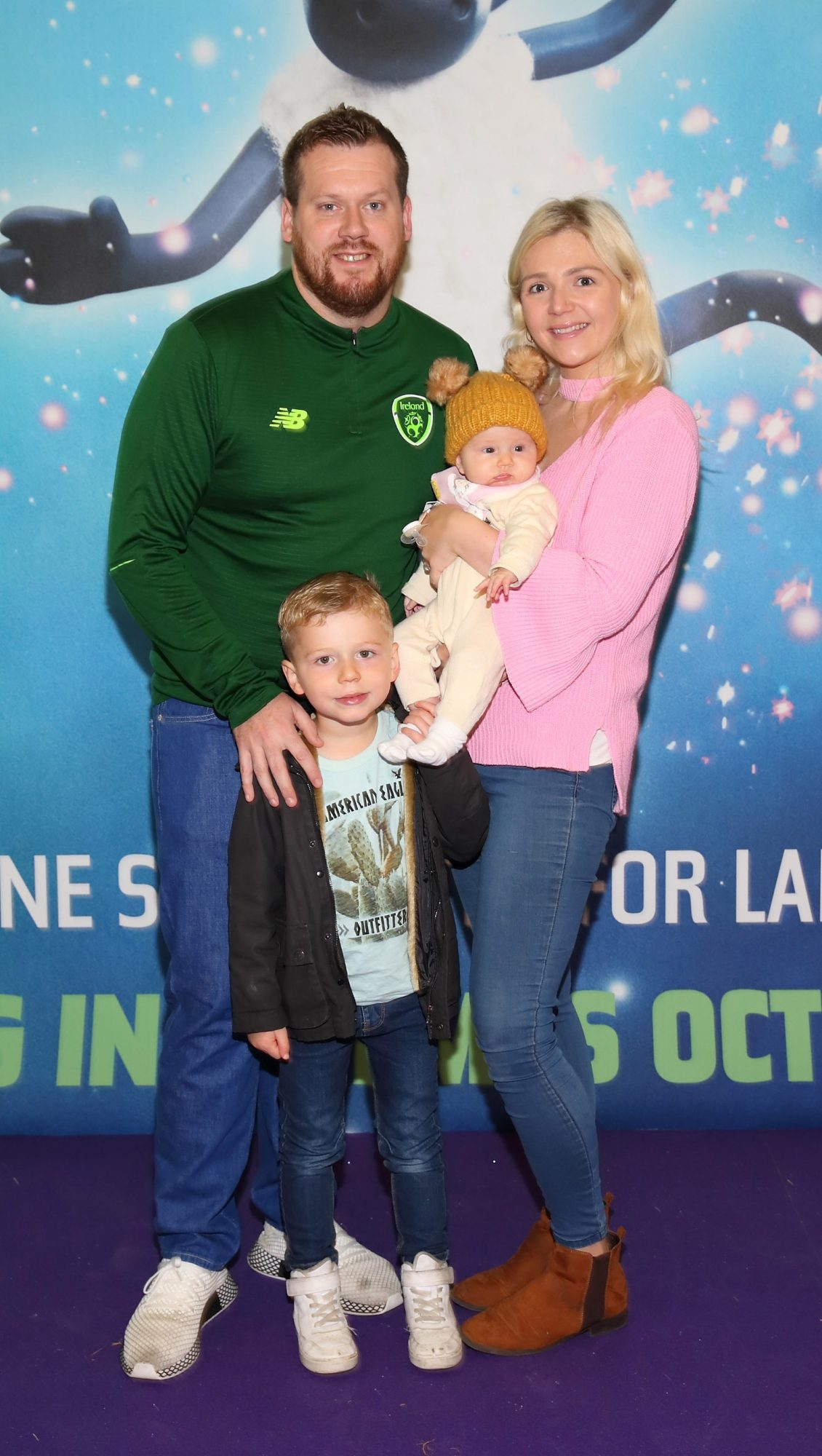 Peter Byrne,Tracey Quinn, Billy Byrne and Willow Byrne at the special preview screening of Shaun the Sheep at the Odeon Cinema In Point Square, Dublin.  Pic: Brian McEvoy Photography