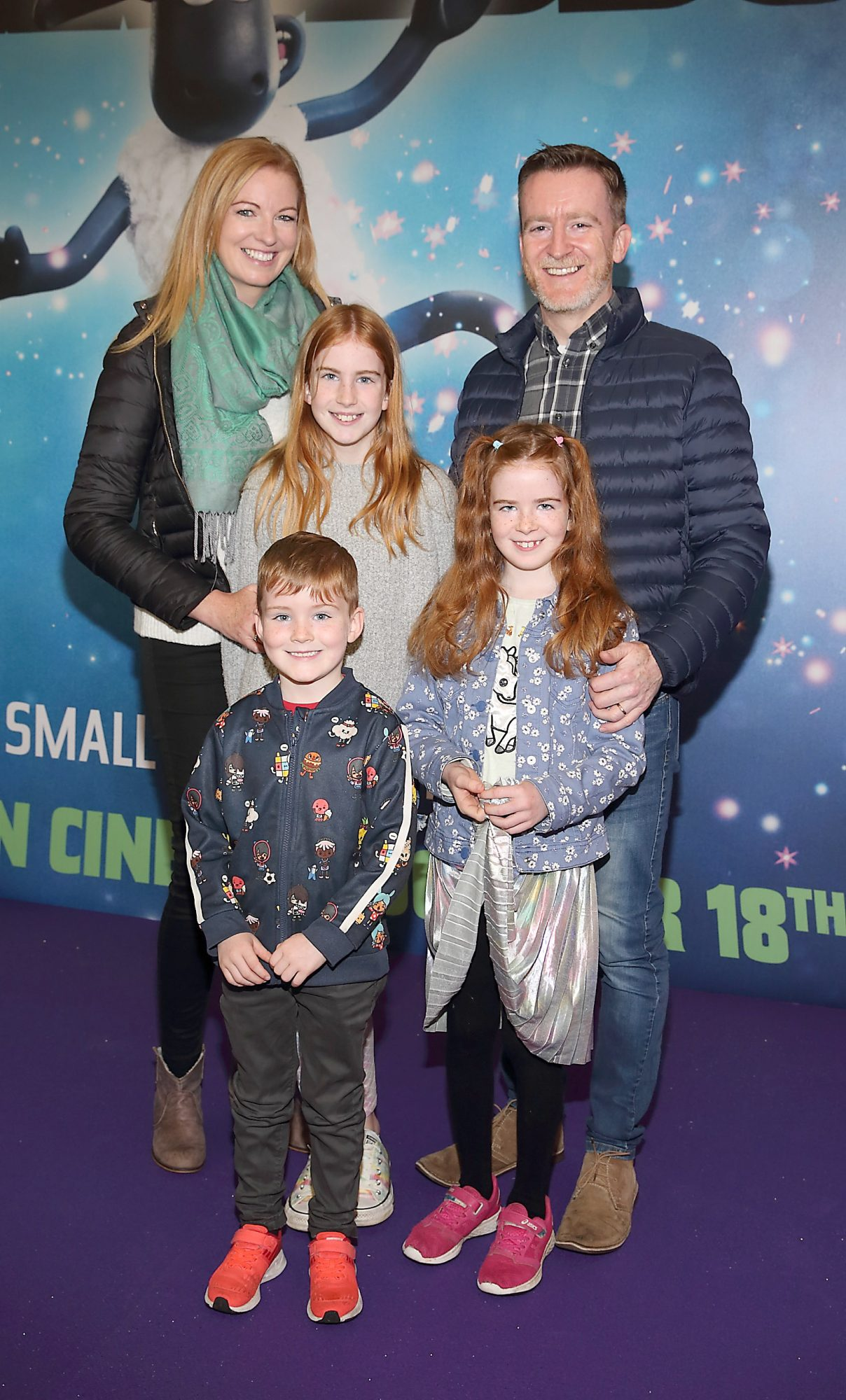 Yvonne O'Shea, Stephen O'Shea, Darcy O'Shea, Judy O'Shea and Milo O'Shea at the special preview screening of Shaun the Sheep at the Odeon Cinema In Point Square, Dublin.  Pic: Brian McEvoy Photography