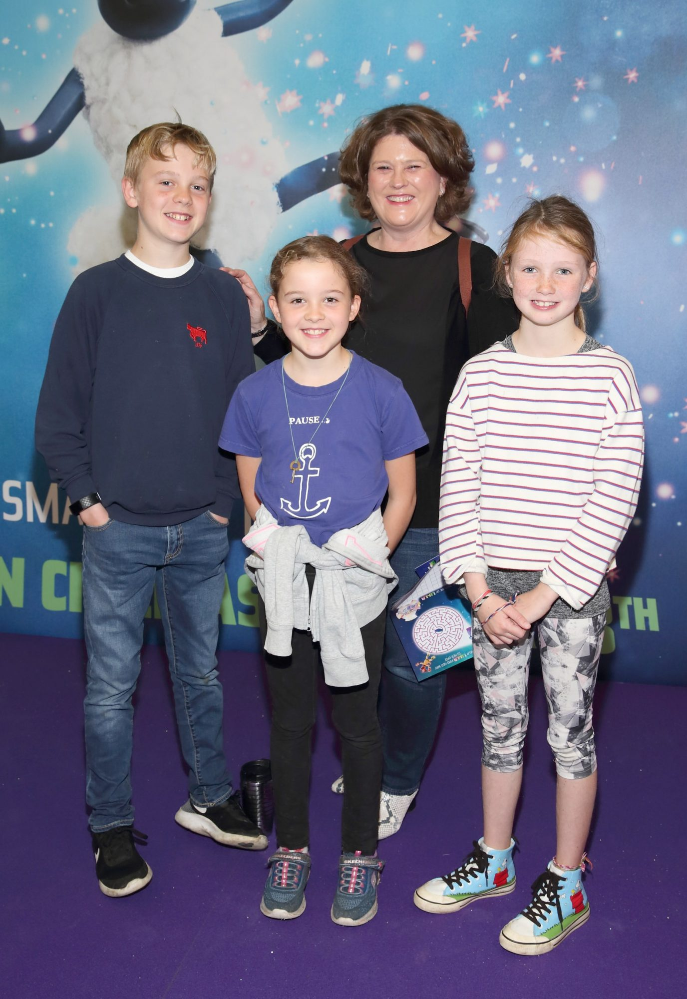 Kate Belinski, Ben Forrest, Alice Forrest and Norah Ardiff at the special preview screening of Shaun the Sheep at the Odeon Cinema In Point Square, Dublin.  Pic: Brian McEvoy Photography