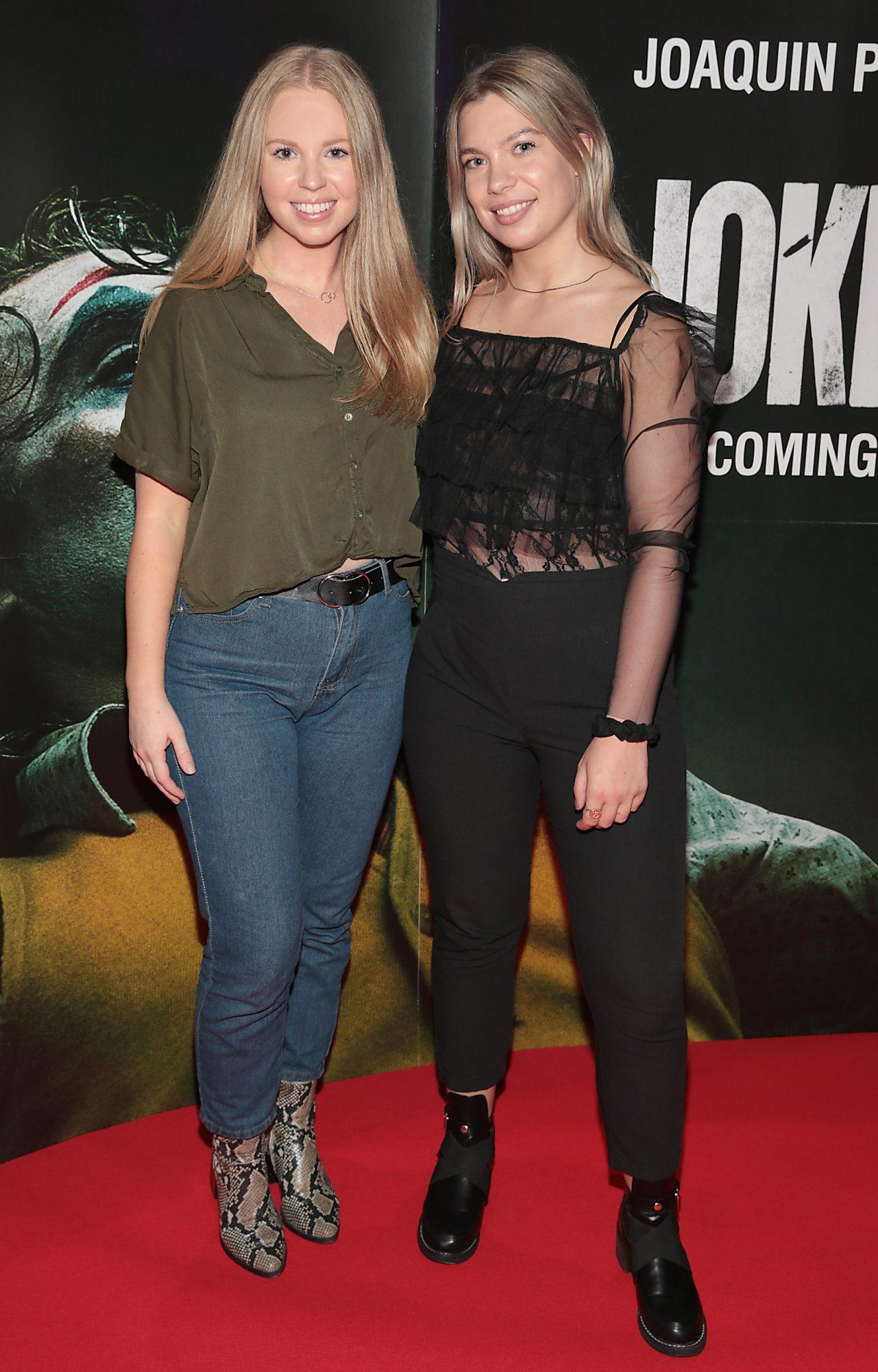 Erica Browne and Ashley Mahon at the Irish Premiere screening of Joker at Cineworld, Dublin. Pic: Brian McEvoy.