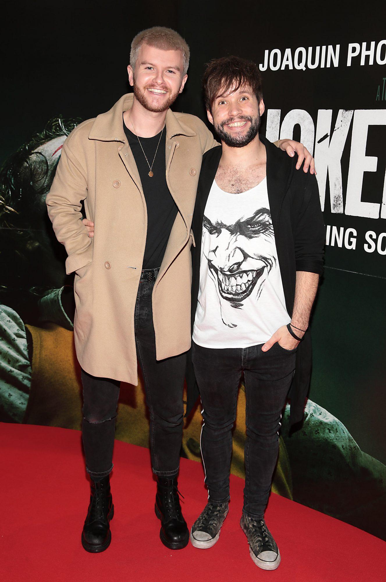 Calum McAdam and David Whelan of Wild Youth at the Irish Premiere screening of TJoker at Cineworld, Dublin. Pic: Brian McEvoy.