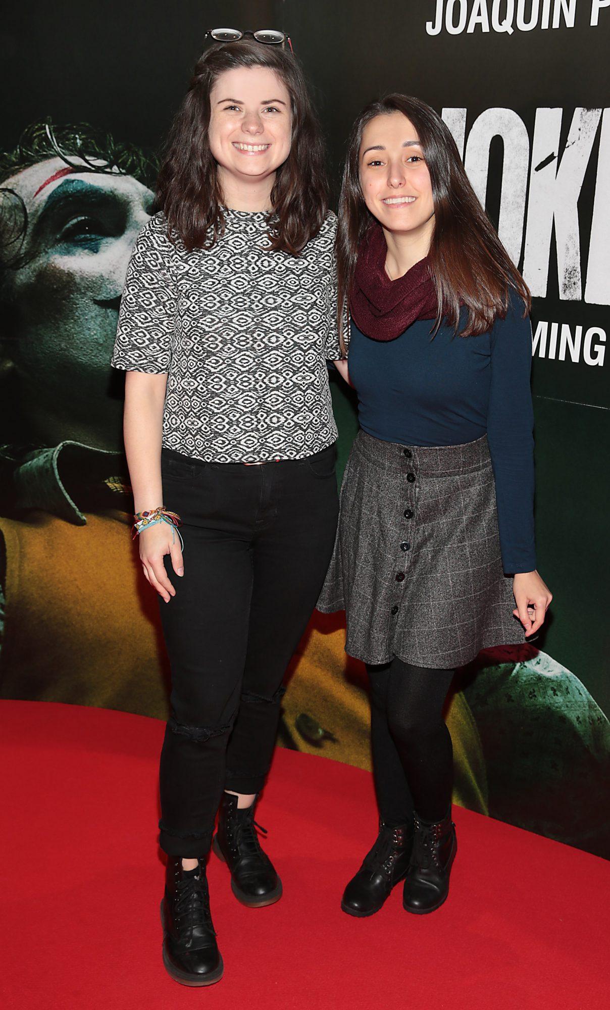 Nadine West and Tahlyta da Marte at the Irish Premiere screening of Joker at Cineworld, Dublin. Pic: Brian McEvoy.
