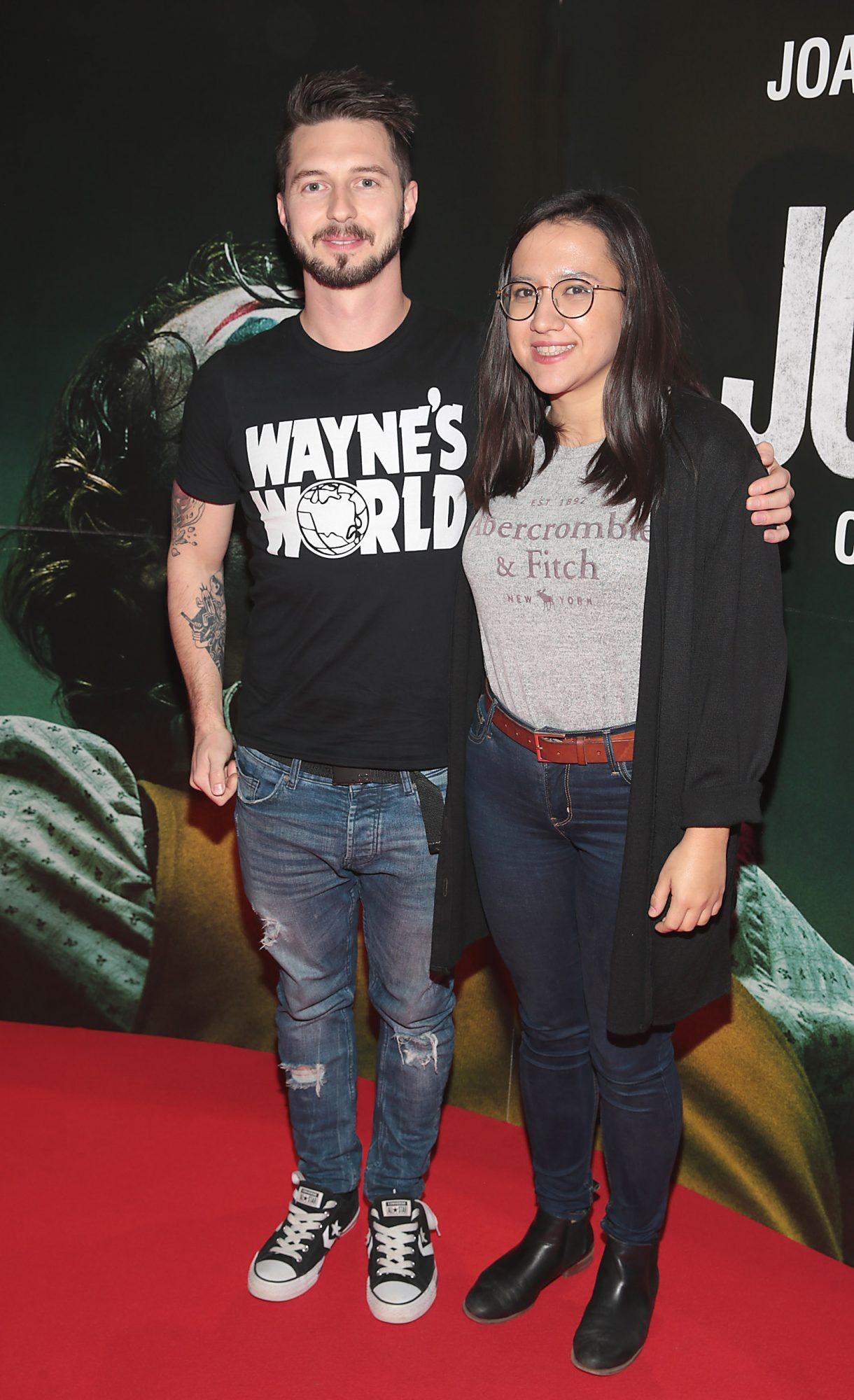 James McCahey and Tina Zafeiri at the Irish Premiere screening of Joker at Cineworld, Dublin. Pic: Brian McEvoy.
