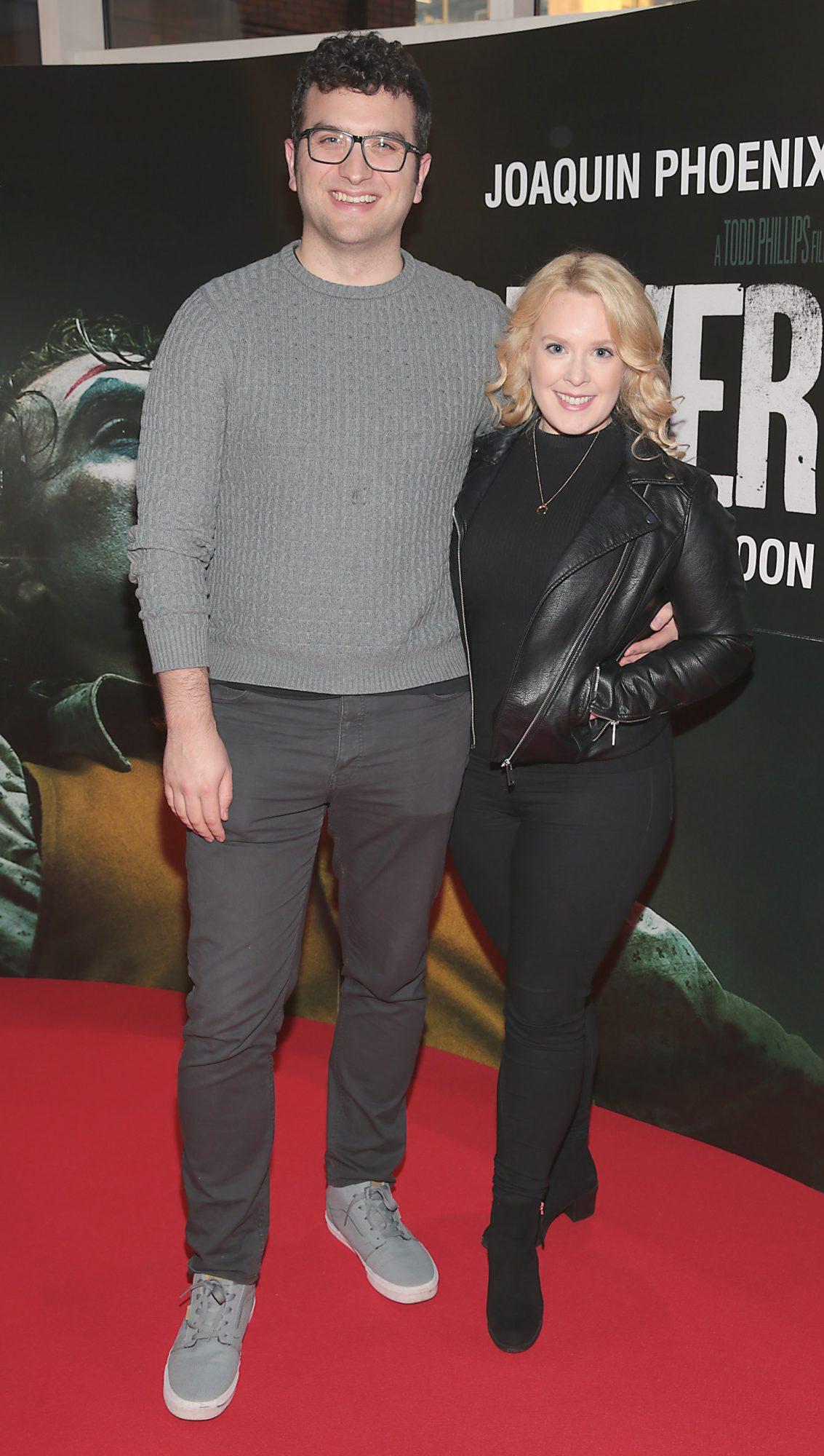 Gerard Collis and Rebecca Hickey at the Irish Premiere screening of Joker at Cineworld, Dublin. Pic: Brian McEvoy.