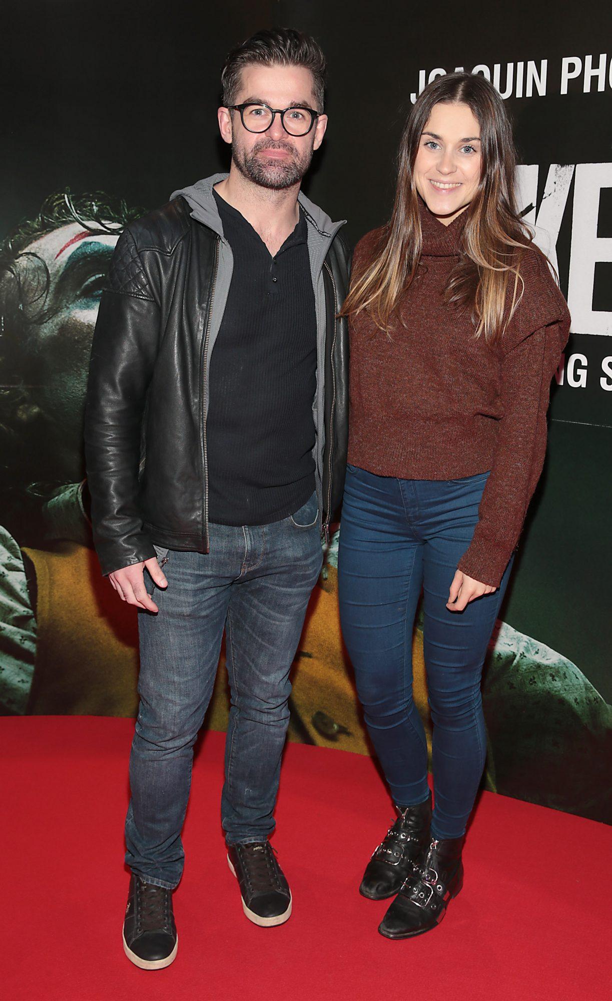 Mike Sheridan and Jo Linehan at the Irish Premiere screening of Joker at Cineworld, Dublin. Pic: Brian McEvoy.