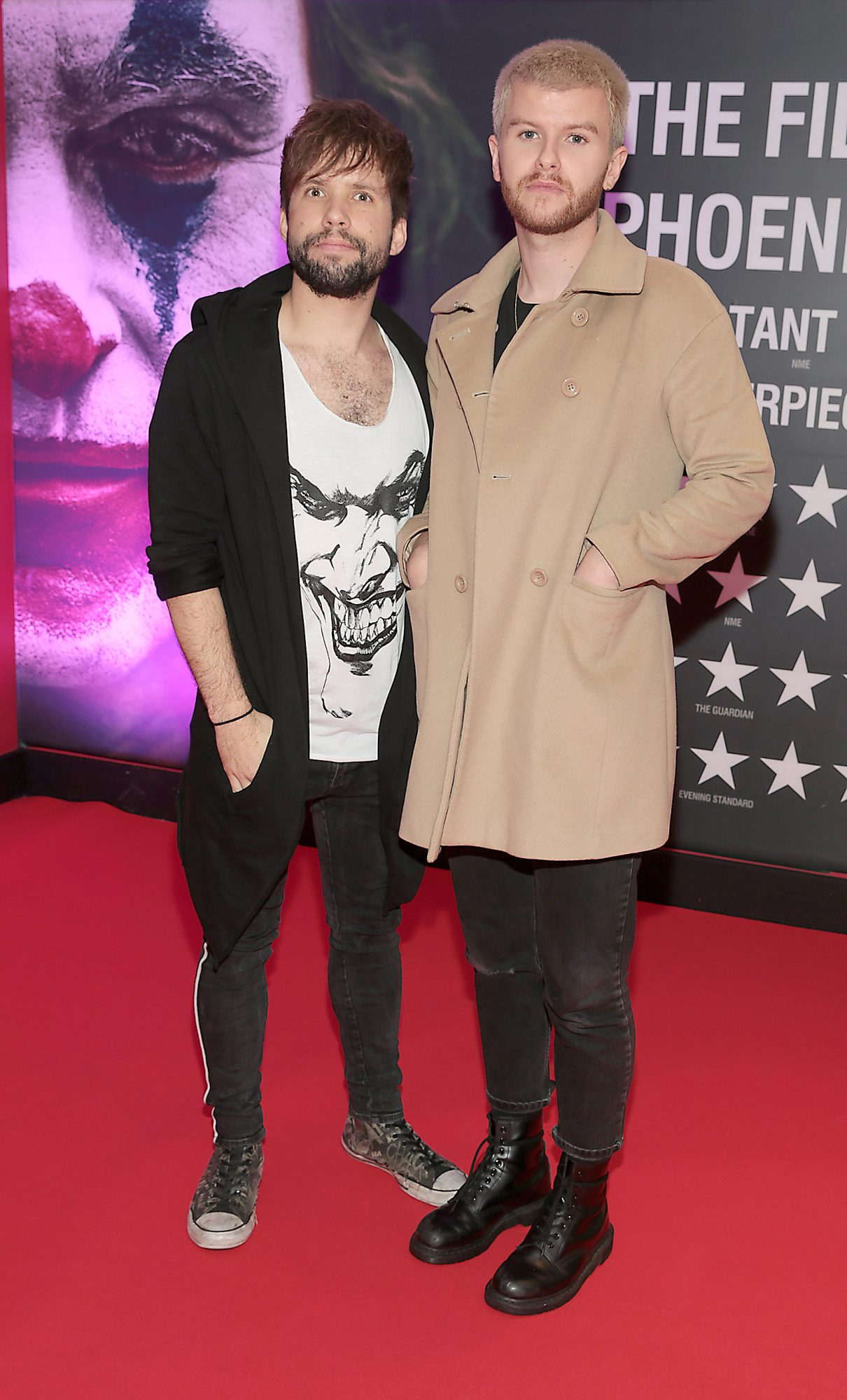 Calum McAdam and David Whelan of Wild Youth at the Irish Premiere screening of Joker at Cineworld, Dublin. Pic: Brian McEvoy.