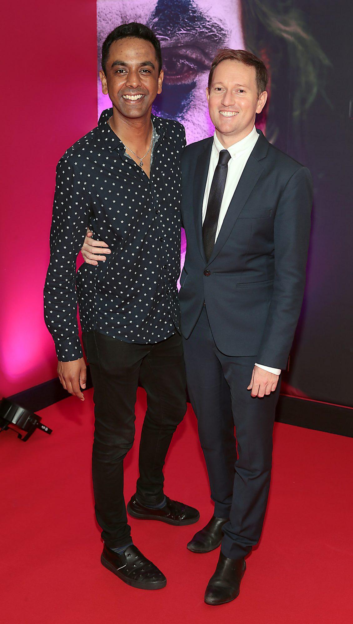 Clint Drieberg and David Mitchell at the Irish Premiere screening of Joker at Cineworld, Dublin. Pic: Brian McEvoy.
