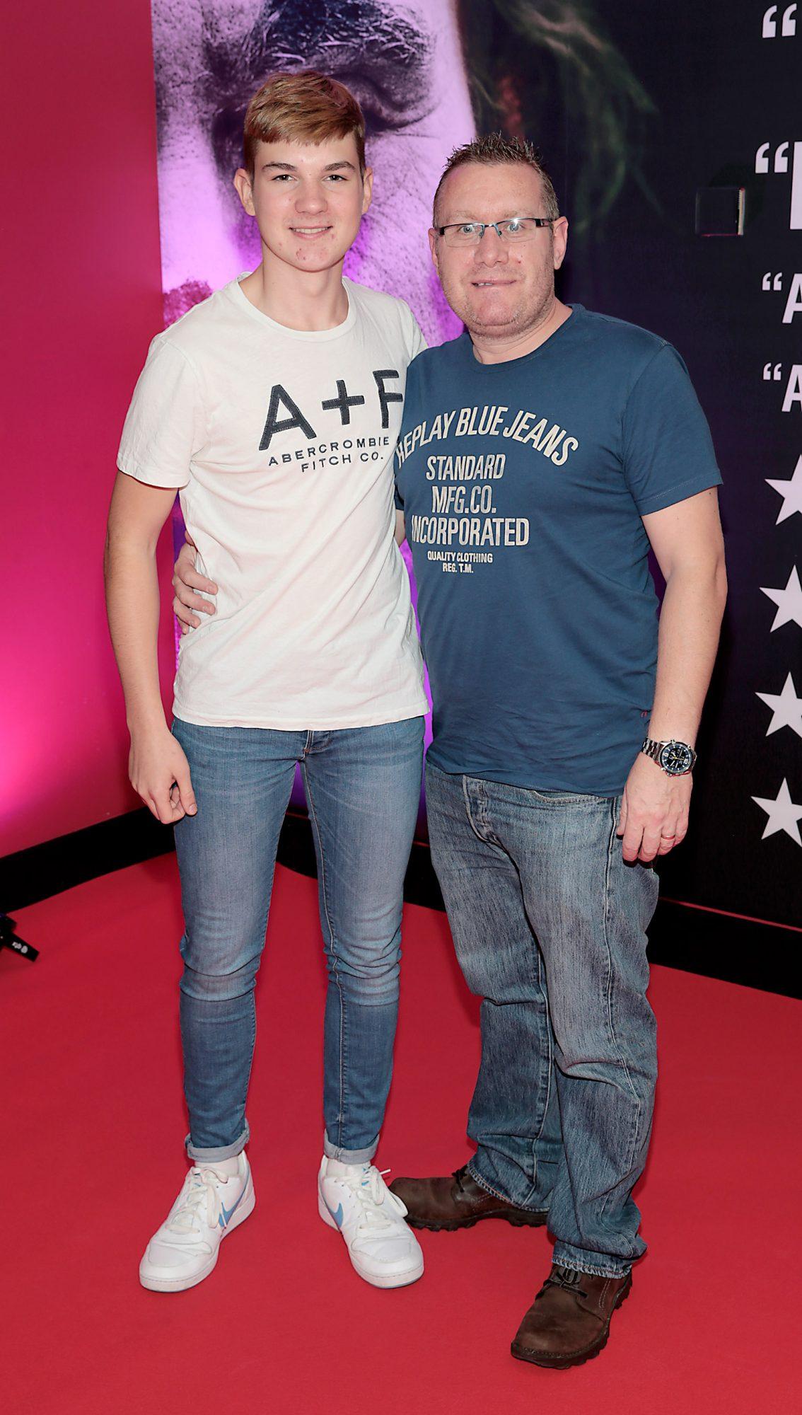 Finn Farrell and Paul Farrell  at the Irish Premiere screening of Joker at Cineworld, Dublin. Pic: Brian McEvoy.