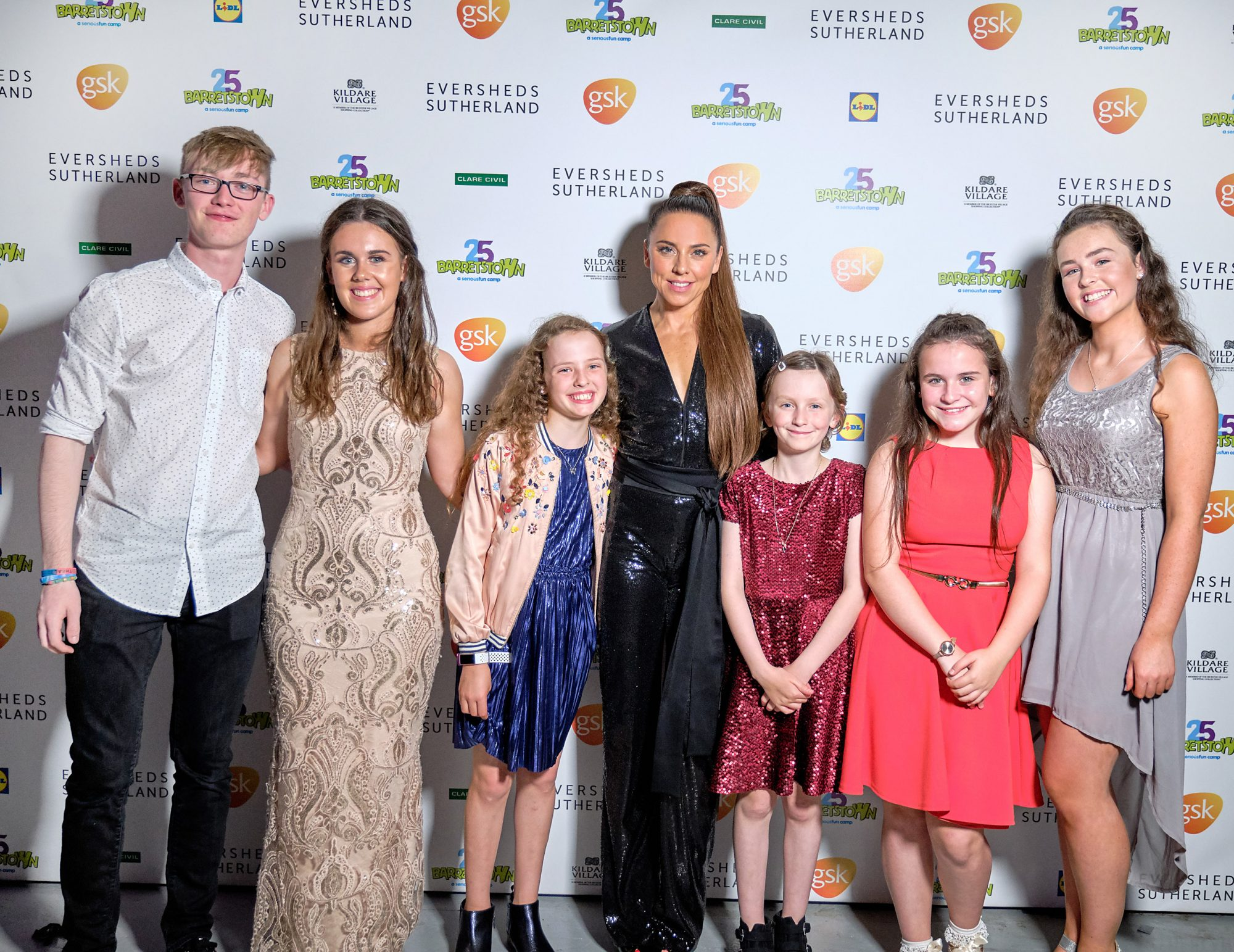 The Barretstown campers with Melanie C at the Barretstown 25th Anniversary Gala Ball at the RDS, Ballsbridge, Dublin.  Pictures: Cathal Mac an Bheatha