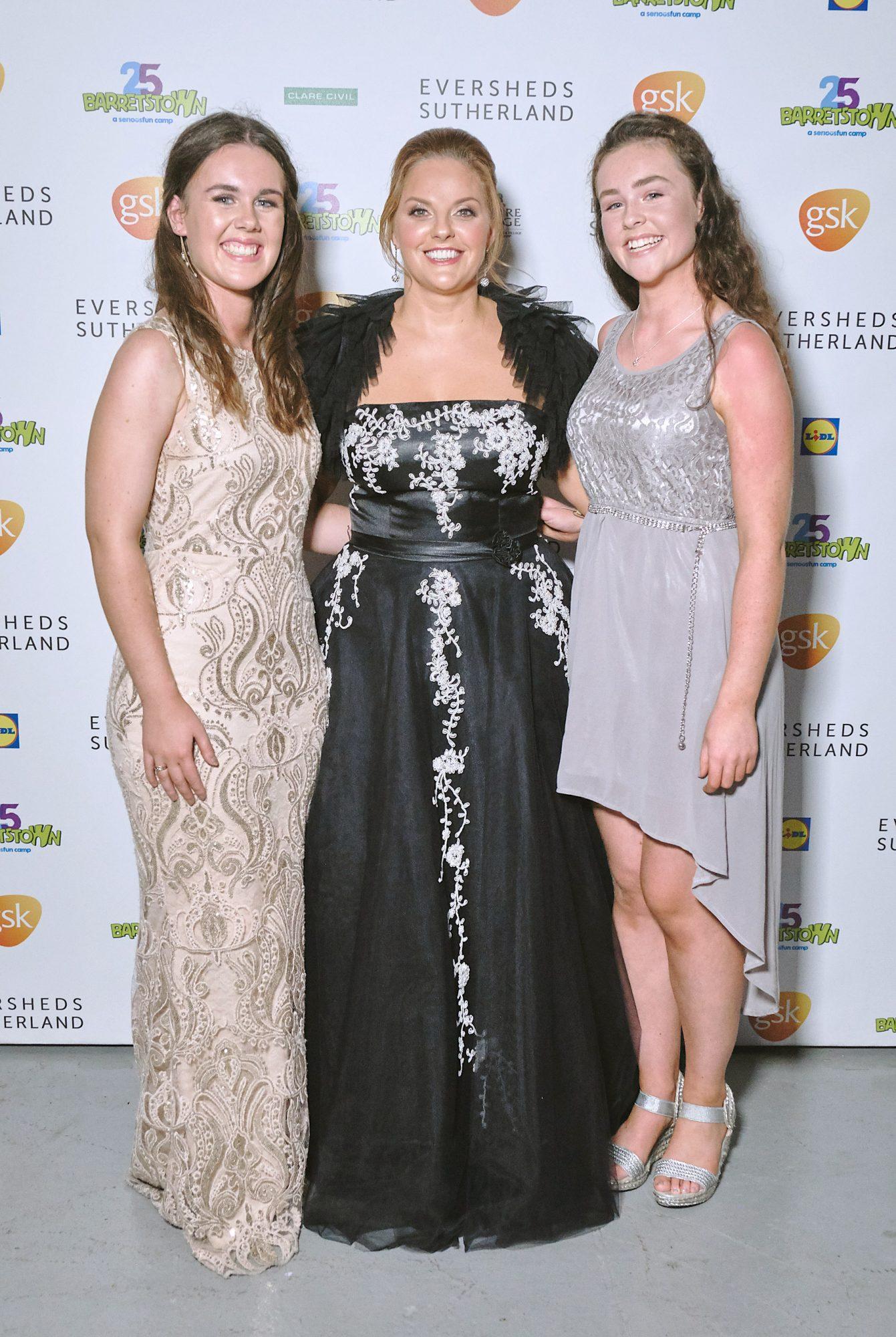 Hannah Byrne, Celine Byrne and Jessica Byrne  at the Barretstown 25th Anniversary Gala Ball at the RDS, Basllsbridge, Dublin.  Pic: Brian McEvoy Photography