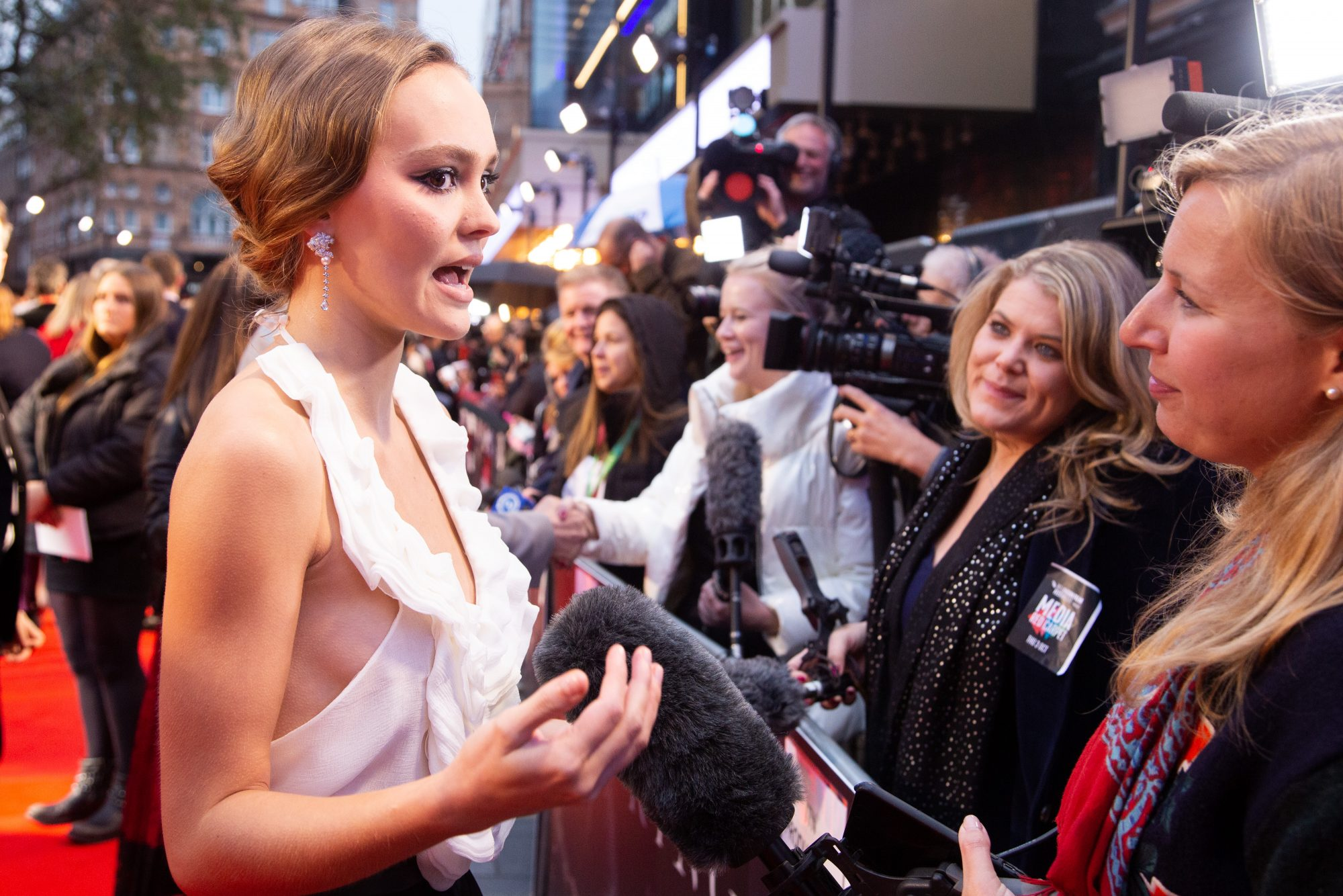 Lily-Rose Depp at The King UK Premiere during the 63rd BFI London Film Festival at Odeon Luxe Leicester Square on 3rd October 2019.  Photos: Netflix