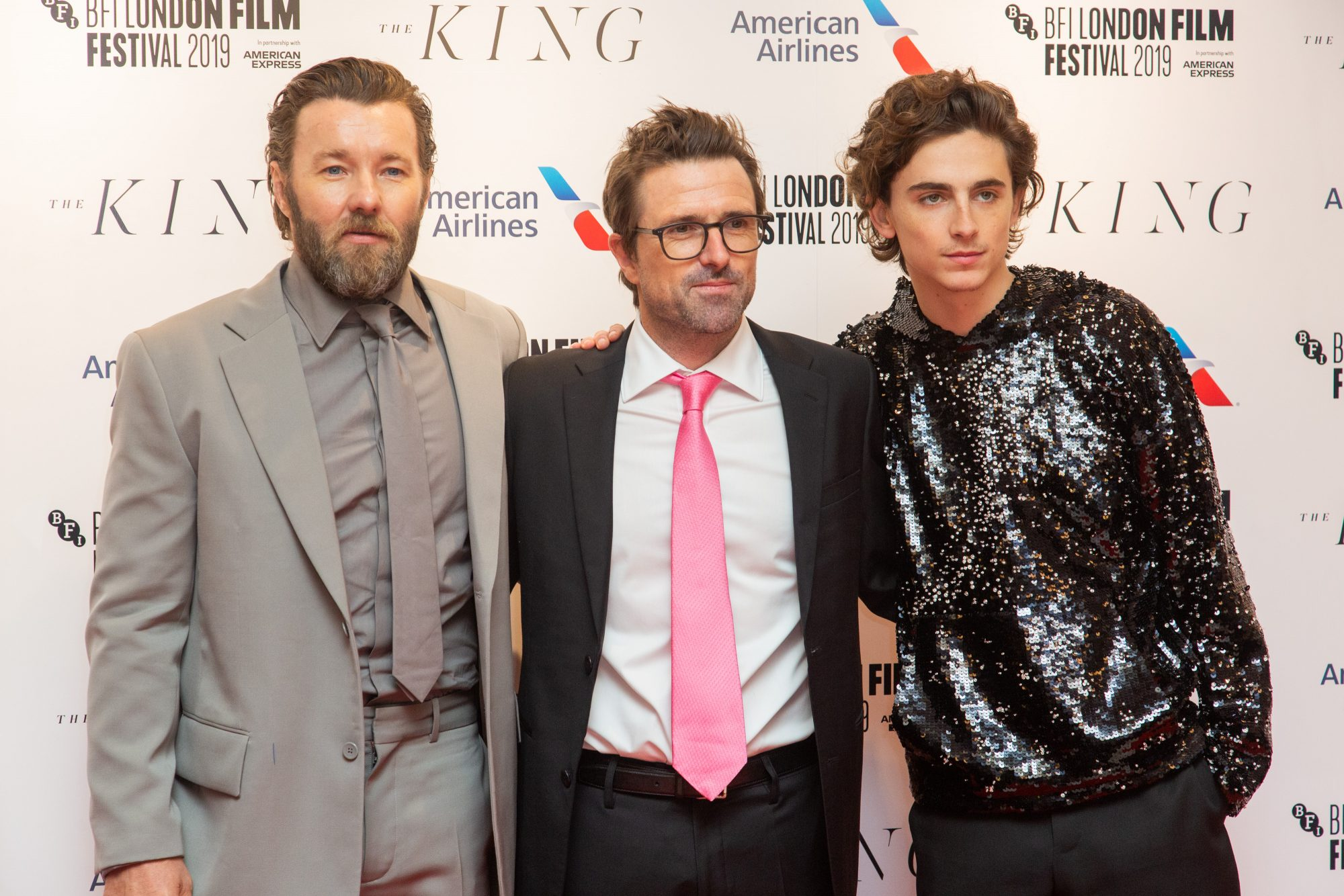 Joel Edgerton, David Michod and Timothee Chalamet at The King UK Premiere during the 63rd BFI London Film Festival at Odeon Luxe Leicester Square on 3rd October 2019.  Photos: Netflix