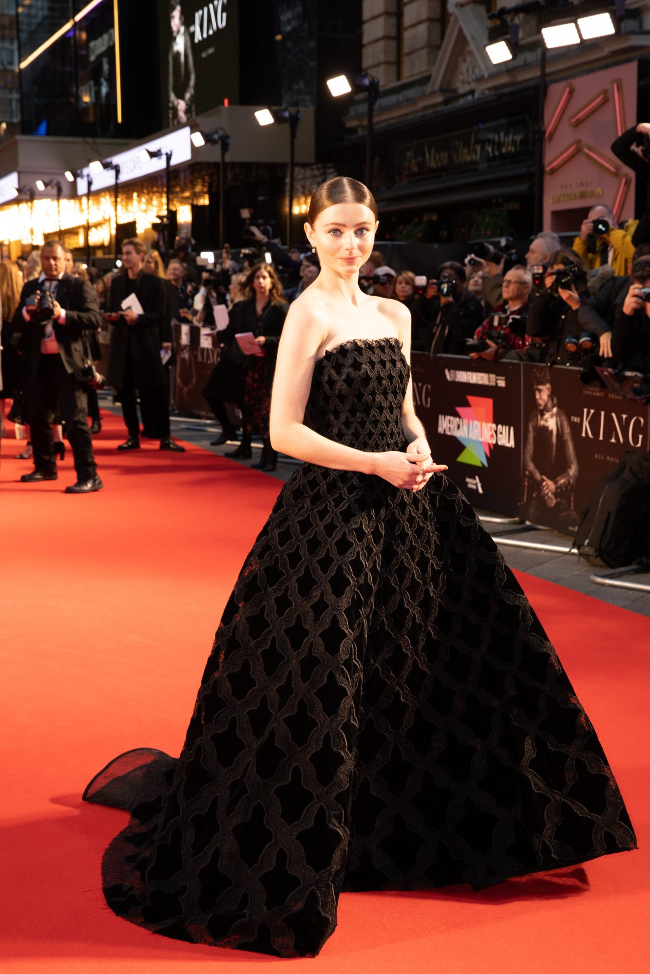 Thomasin Harcourt McKenzie at The King UK Premiere during the 63rd BFI London Film Festival at Odeon Luxe Leicester Square on 3rd October 2019.  Photos: Netflix