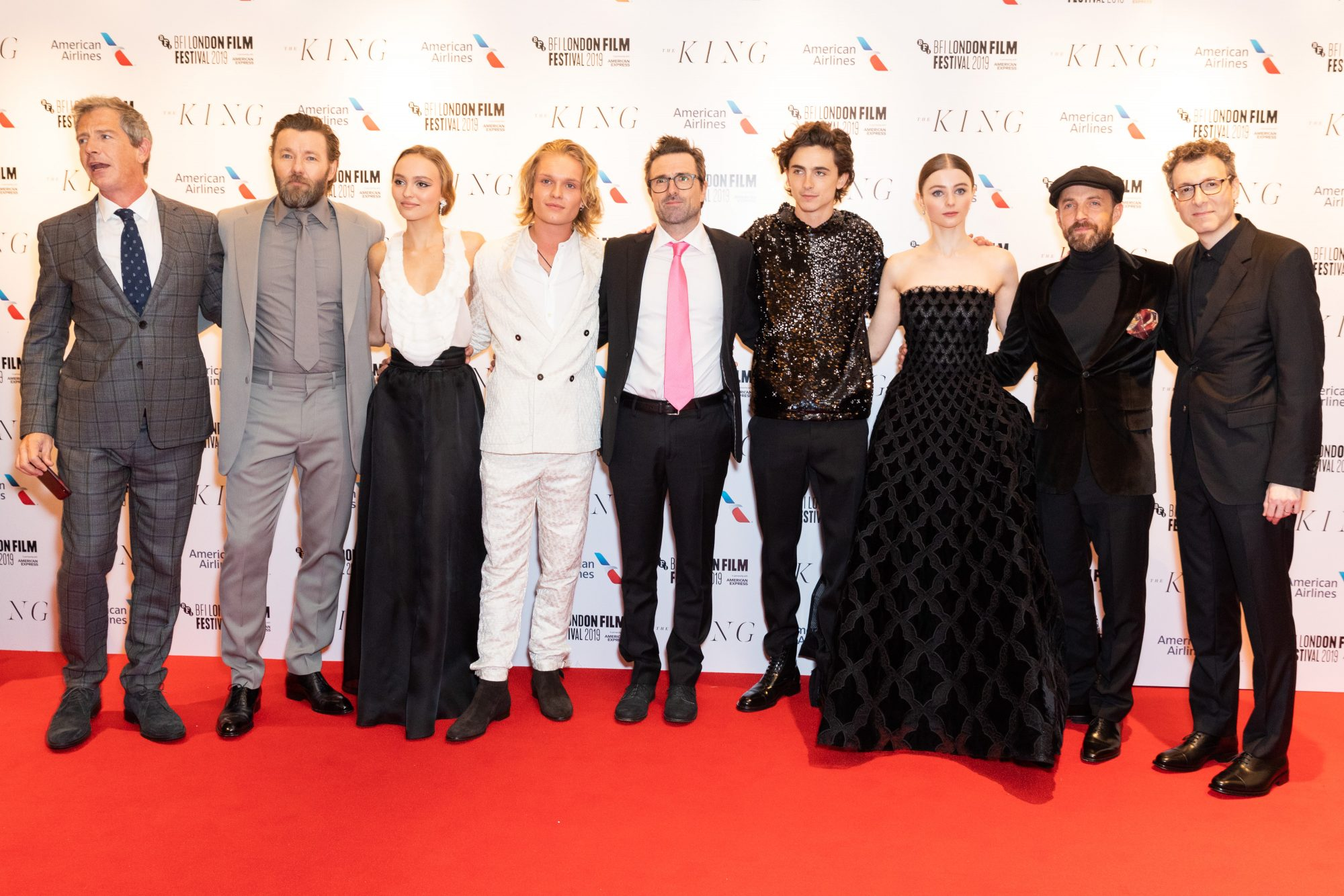 (L-R) Ben Mendelsohn, Joel Edgerton, Lily-Rose Depp, Tom Glynn-Carney, David Michod, Timothee Chalamet, Thomasin Harcourt McKenzie, Tom Lawrence and Nick Britell at The King UK Premiere during the 63rd BFI London Film Festival at Odeon Luxe Leicester Square on 3rd October 2019.  Photos: Netflix