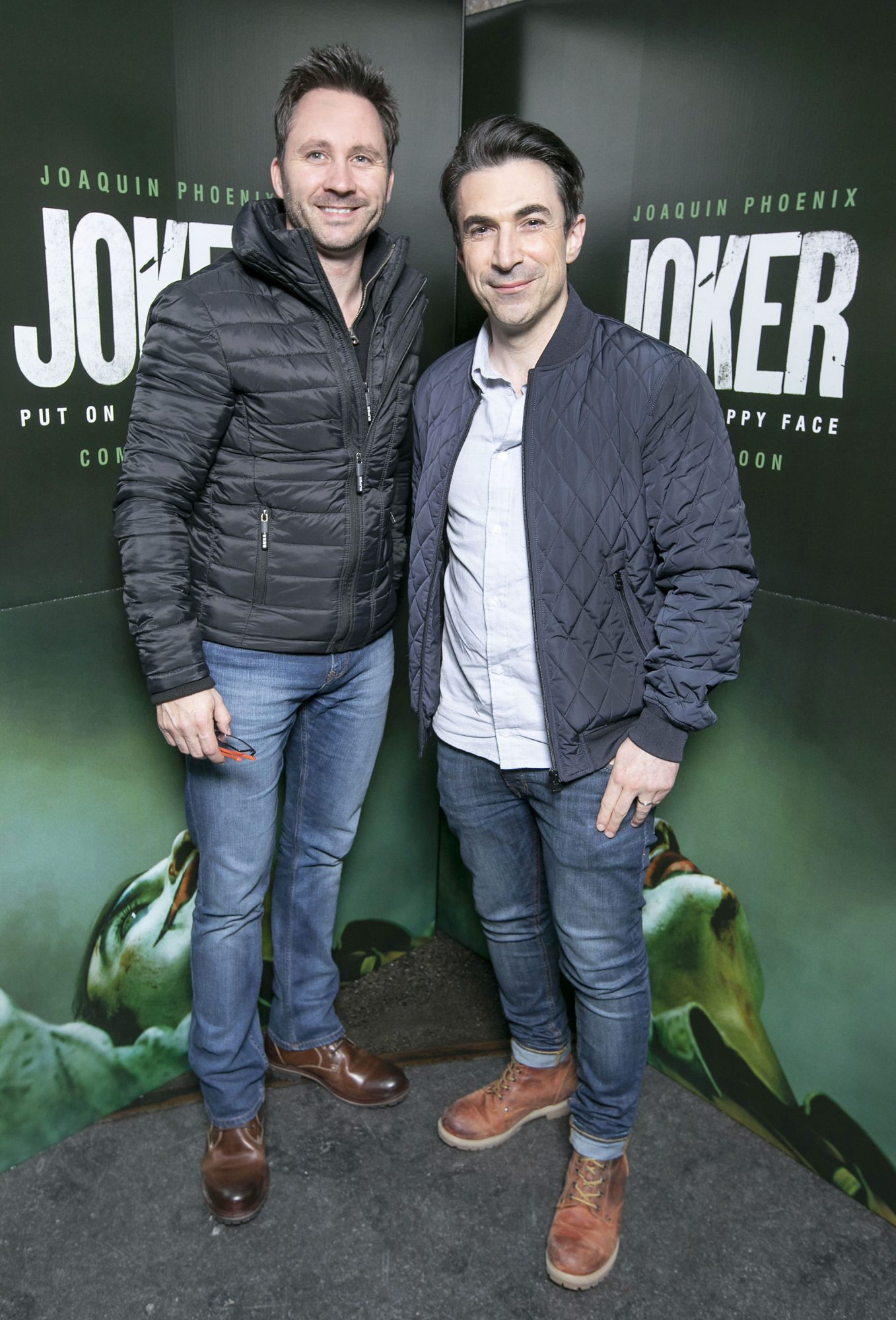 Rob Sheridan and Gordon Hayden at the special 70mm screening of Todd Phillips Joker at the IFI Dublin. Pic: Brian McEvoy Photography