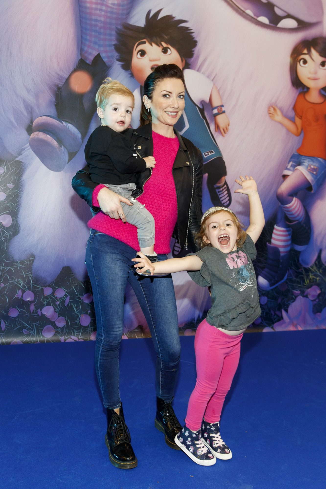 Jennifer Zamparelli with son Enzo and daughter Florence with children pictured at a special preview screening of DreamWorks Animation ABOMINABLE at Odeon Point Square, Dublin.  Picture Andres Poveda