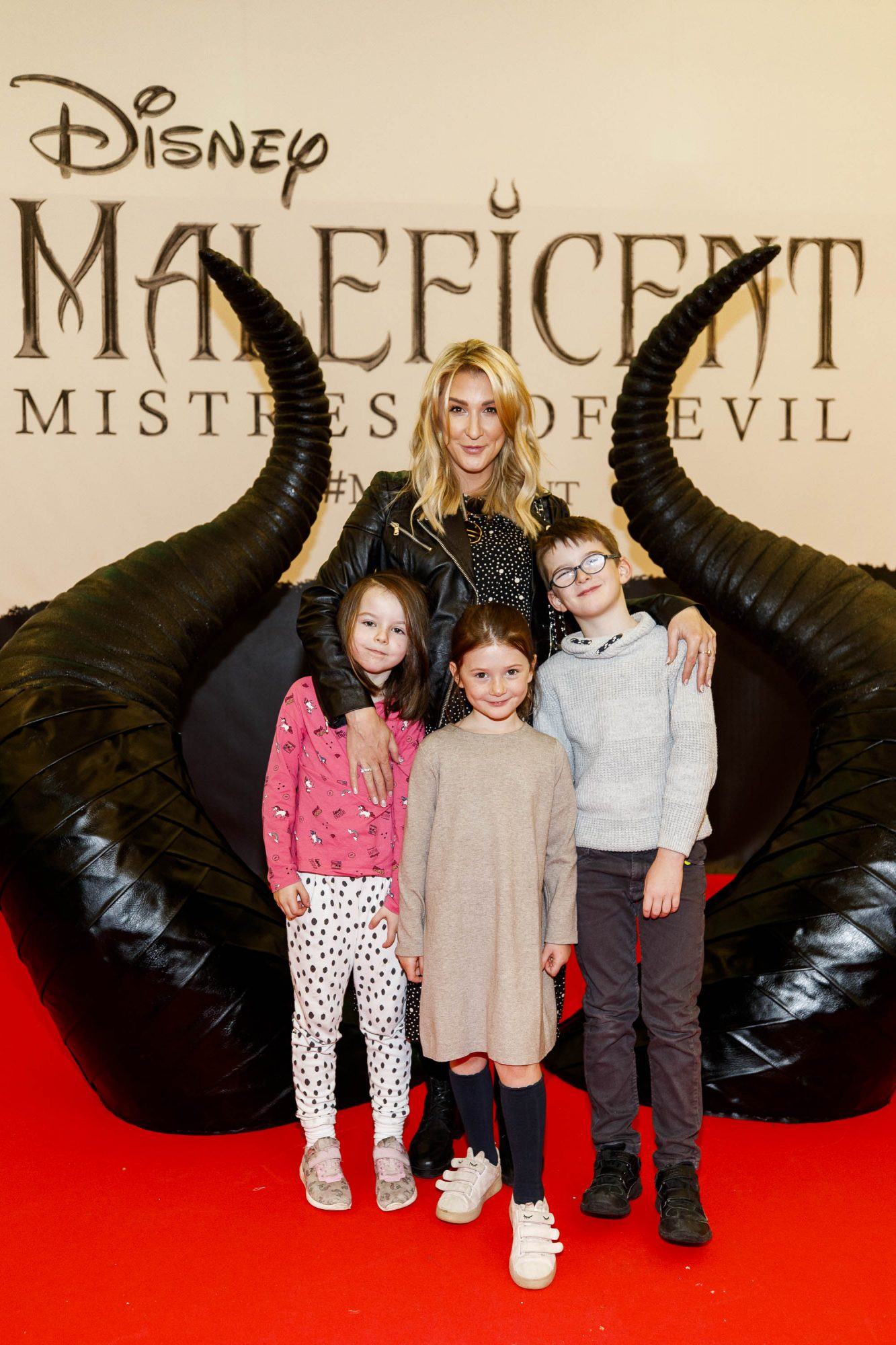 Kate Cassin is pictutred with Gabby Browne (6), Lilly Cassin (6) and Paul Cassin (7) pictured at the special family preview screening of Disney's MALEFICENT: MISTRESS OF EVIL, in the Odeon Point Village. Picture Andres Poveda