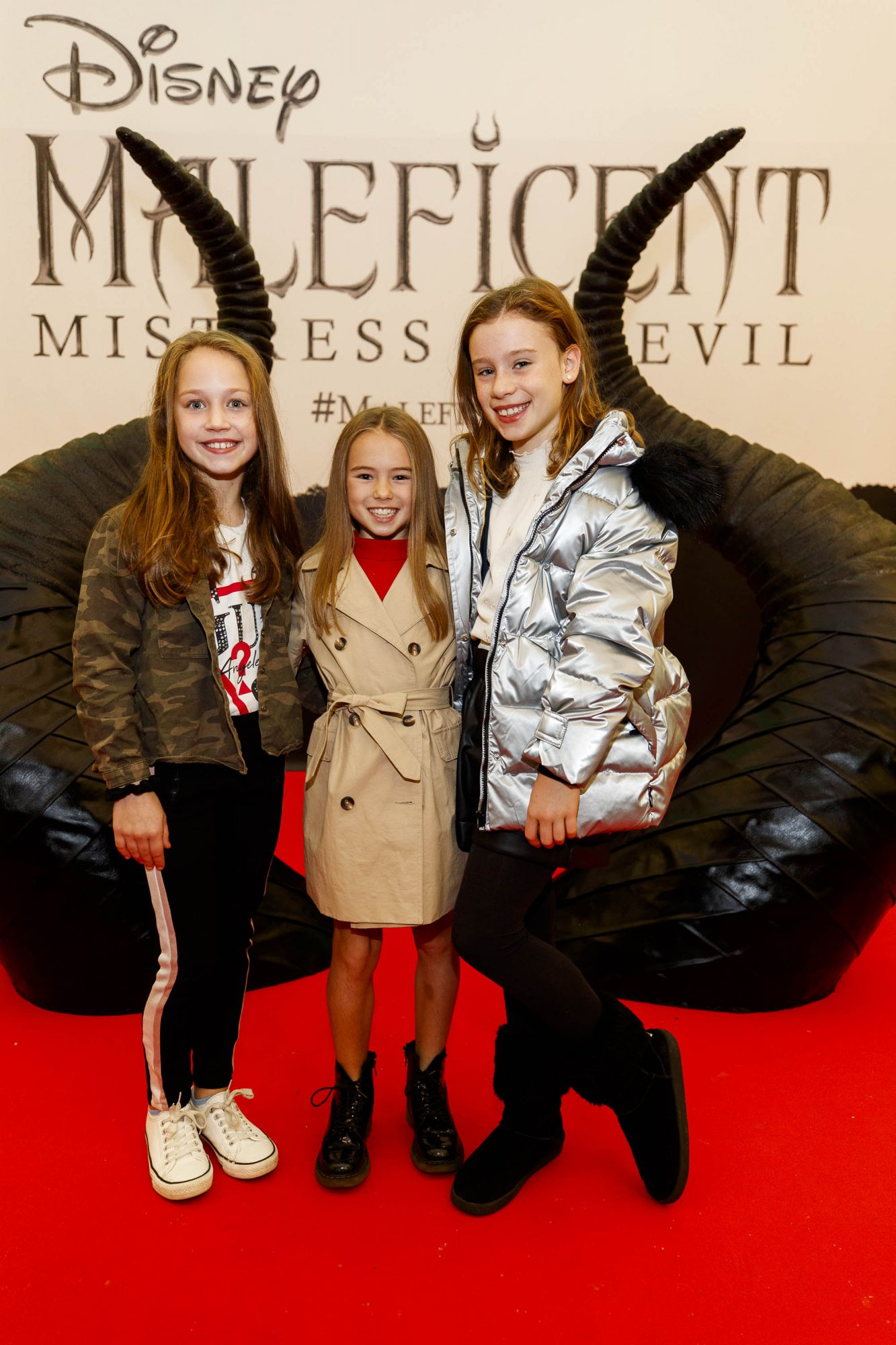 Molly Hughes (8) Jemima Whitty (9) and Cate Collenette (9) pictured at the special family preview screening of Disney's MALEFICENT: MISTRESS OF EVIL, in the Odeon Point Village. Picture Andres Poveda