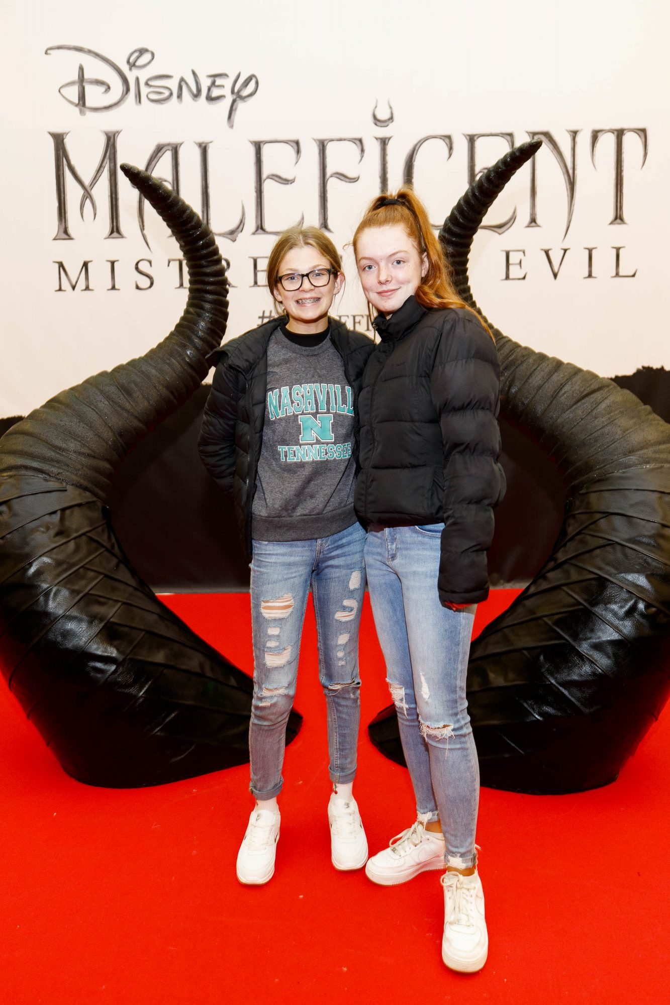 Anna Craig (14) and Aime McGlashin (14) pictured at the special family preview screening of Disney's MALEFICENT: MISTRESS OF EVIL, in the Odeon Point Village. Picture Andres Poveda