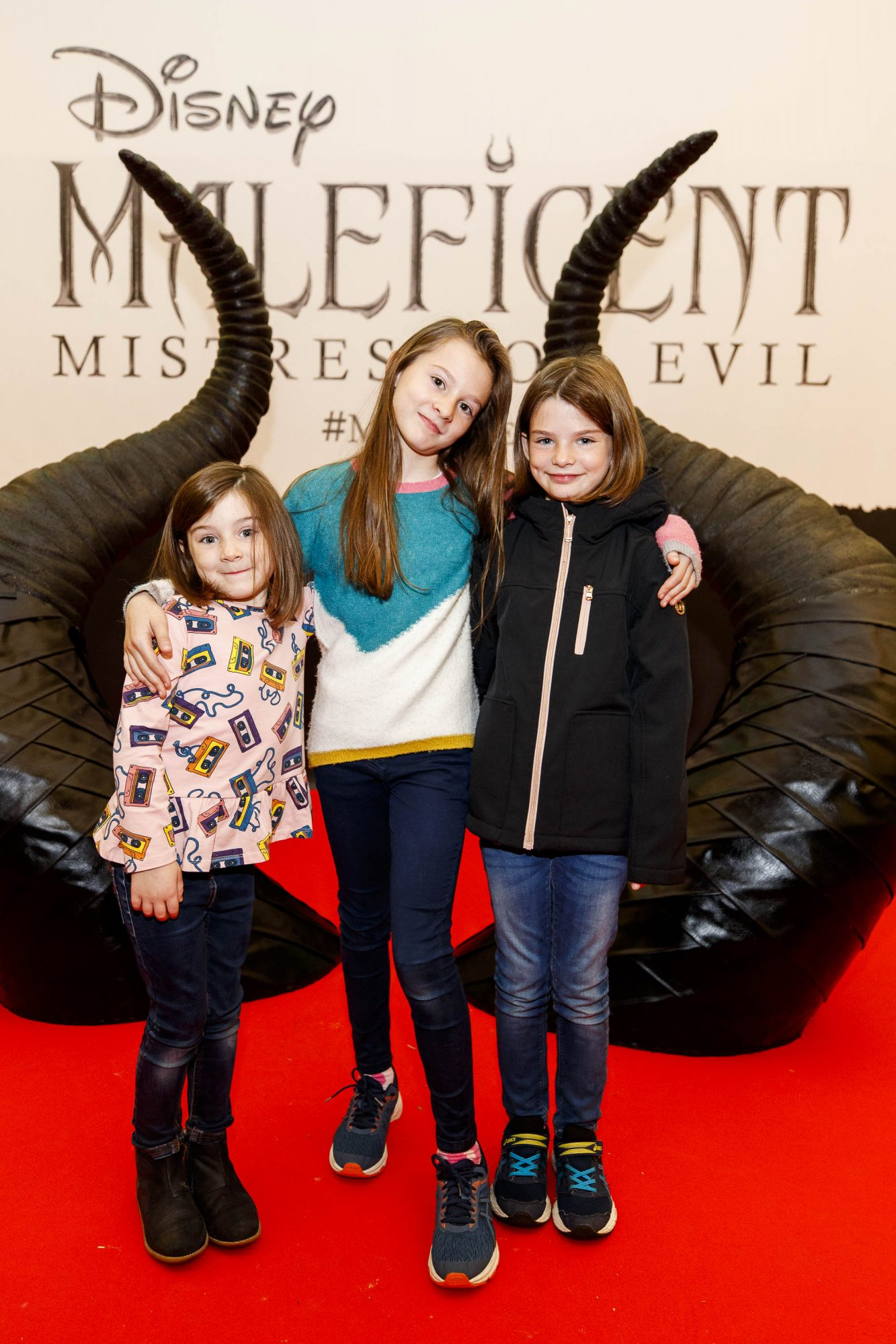 Audrey (5), Vivienne (9) Harriet Lee (8)pictured at the special family preview screening of Disney's MALEFICENT: MISTRESS OF EVIL, in the Odeon Point Village. Picture Andres Poveda