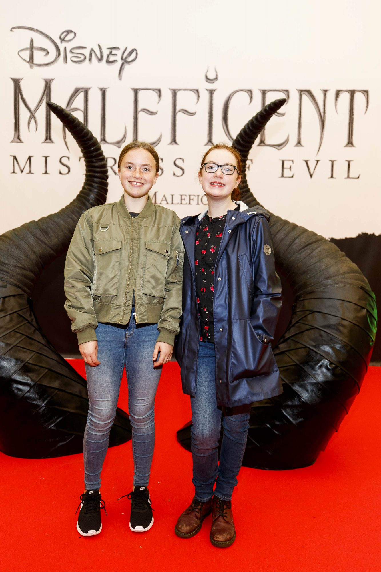 Cara Sexton (12) and Sadhbh Dunnion (11) pictured at the special family preview screening of Disney's MALEFICENT: MISTRESS OF EVIL, in the Odeon Point Village. Picture Andres Poveda