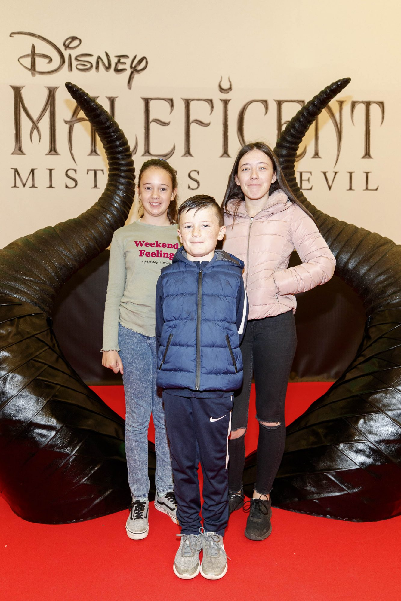 Holly (11) Jake (8) and Katy Burns (13) pictured at the special family preview screening of Disney's MALEFICENT: MISTRESS OF EVIL, in the Odeon Point Village. Picture Andres Poveda
