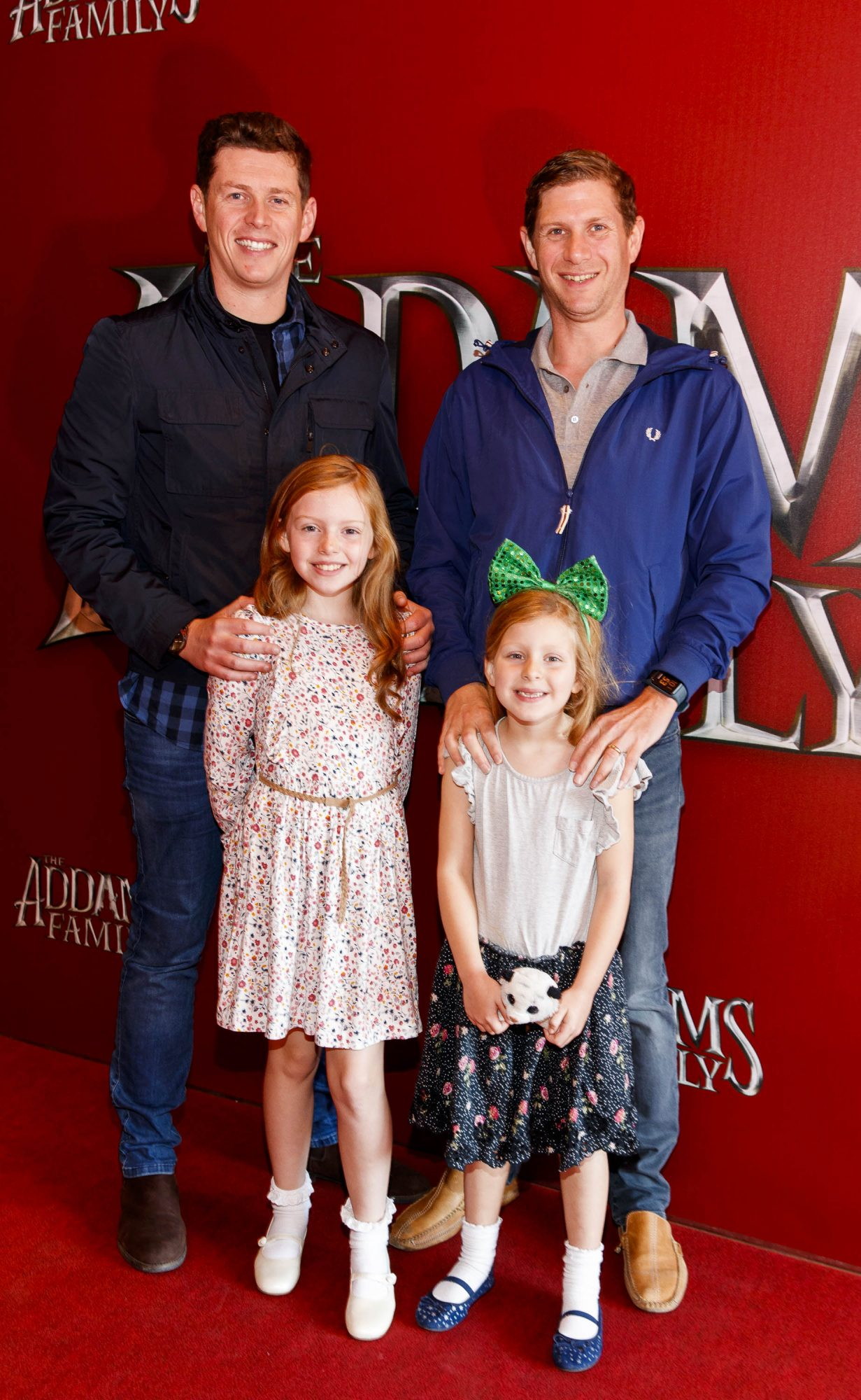 Damien and Peter Clarke with Kitty (8) and Hannah Clarke pictured at a special preview screening of The Addams Family at the Light House Cinema, Dublin.  Picture: Andres Poveda