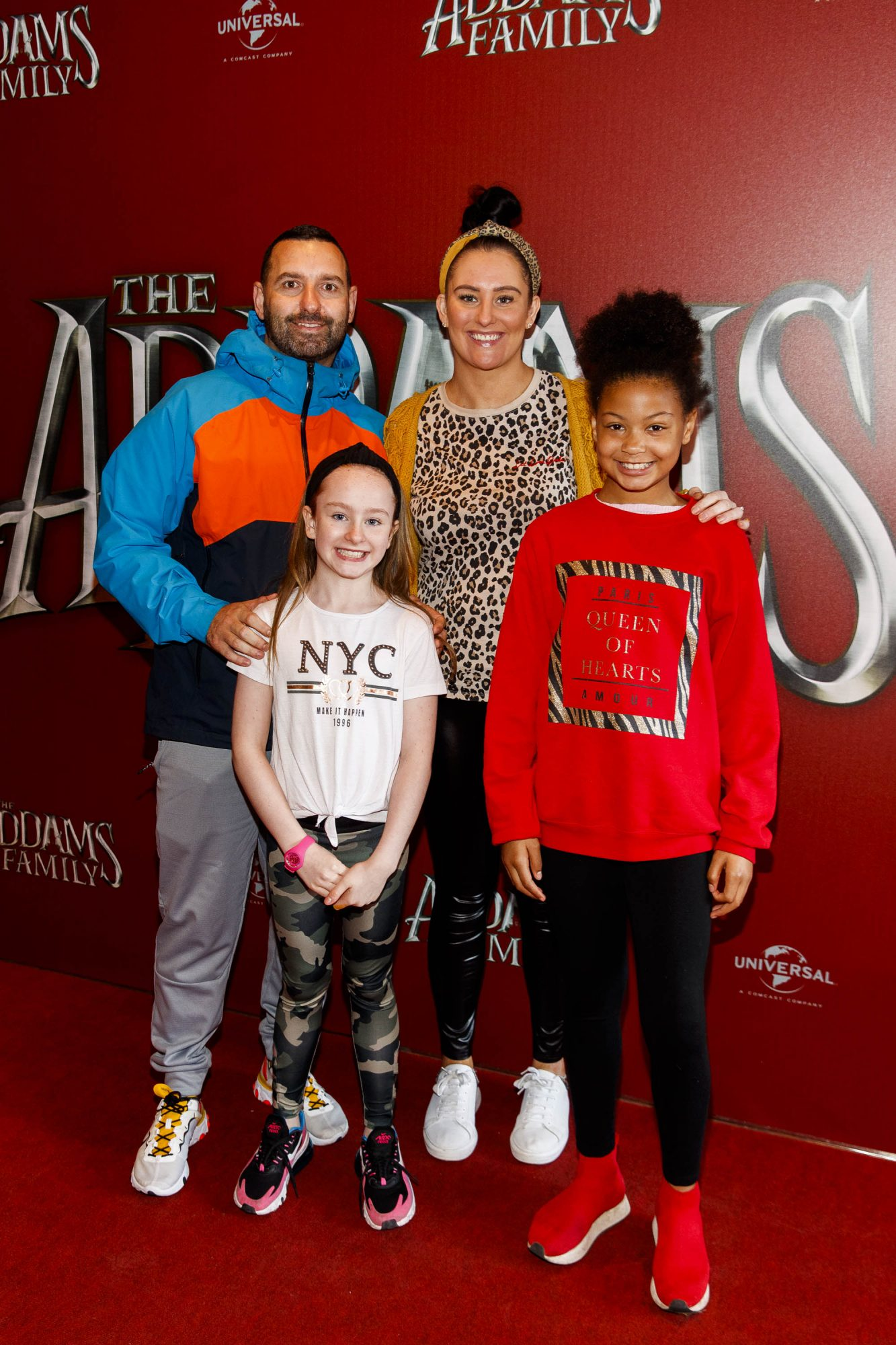 Tom Mahady with Claire Woods, Sienaa Woods (8) and Medison Meeting (10) pictured at a special preview screening of The Addams Family at the Light House Cinema, Dublin.  Picture: Andres Poveda