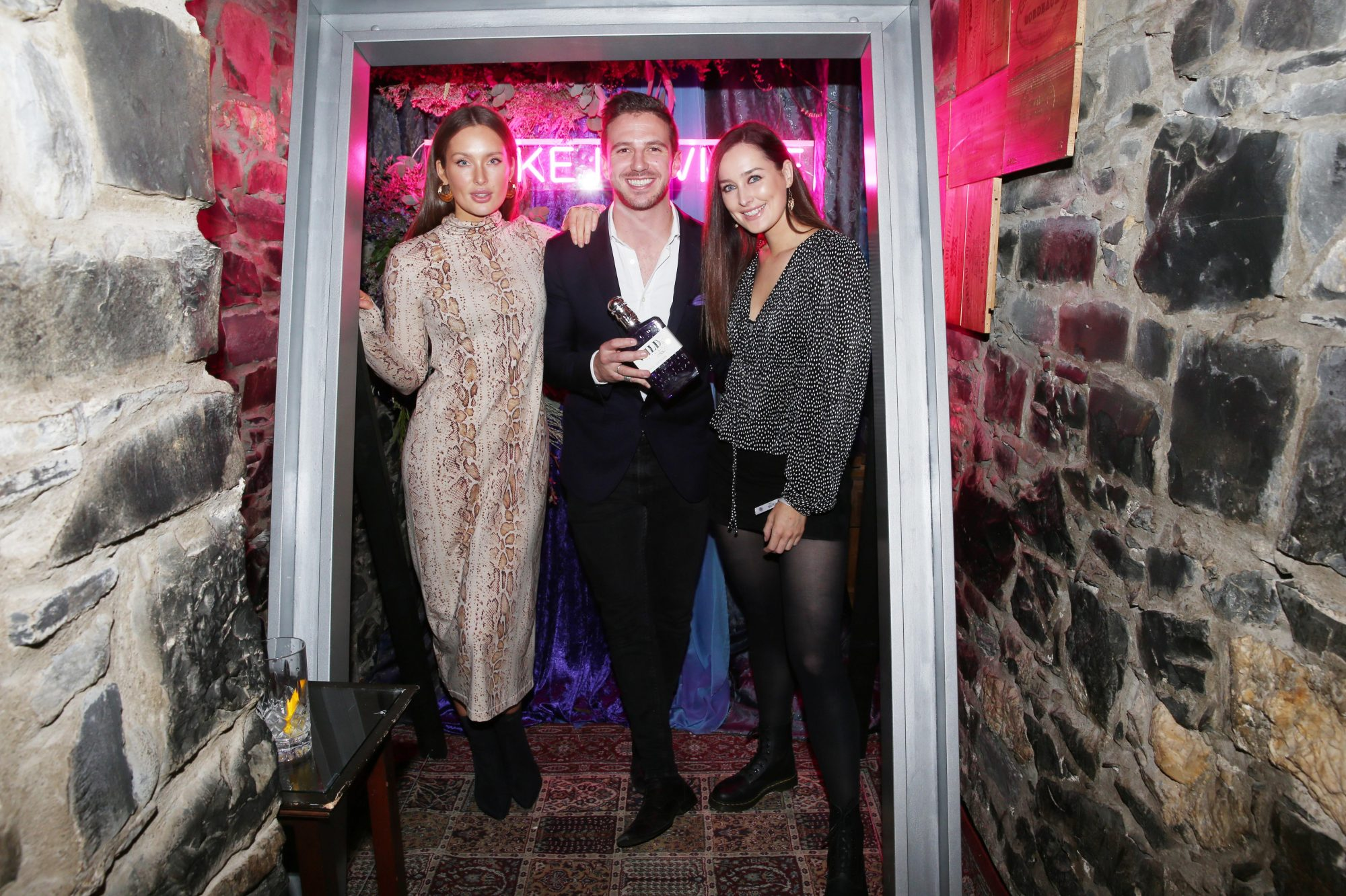 Roz Purcell, Jamie Hunt and Rebecca Purcell pictured at the exclusive global launch of Wilde Irish Gin at The Cellar Bar. Photograph: Leon Farrell / Photocall Ireland