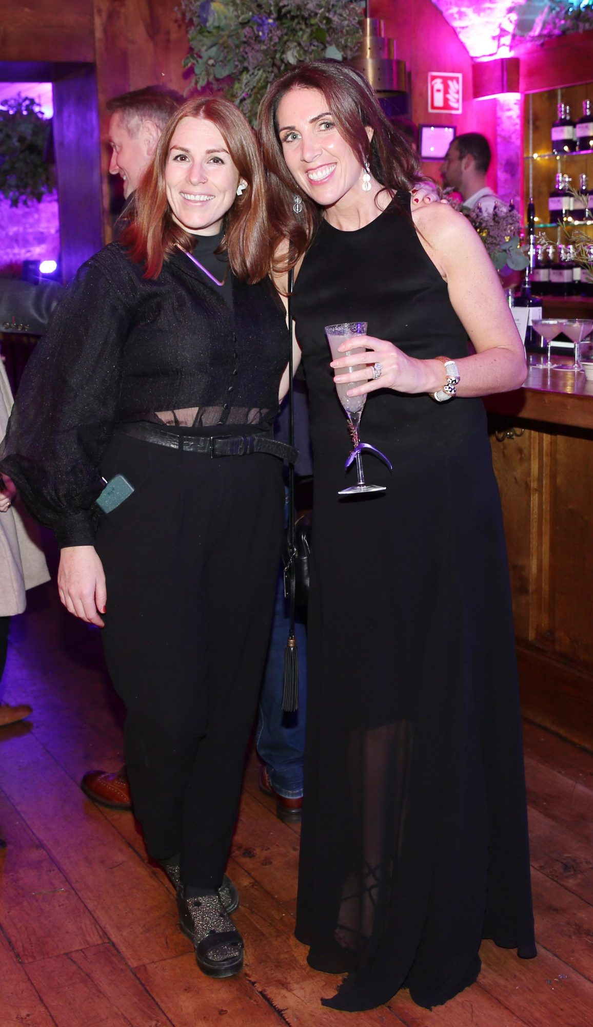 Sarah Byrne and Nicola Connolly pictured at the exclusive global launch of Wilde Irish Gin at The Cellar Bar last night. Photograph: Leon Farrell / Photocall Ireland