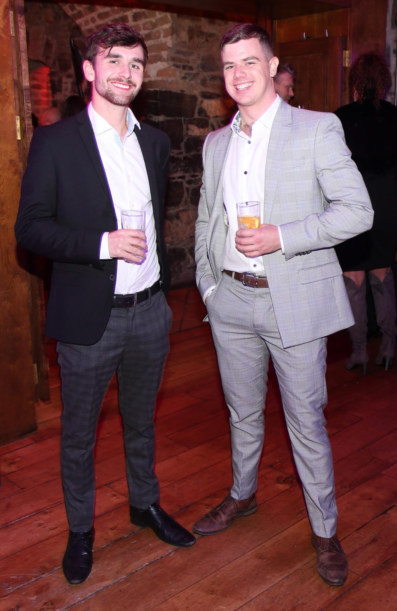 Rory Sheehan and Stephen Spillane pictured at the exclusive global launch of Wilde Irish Gin at The Cellar Bar last night. Photograph: Leon Farrell / Photocall Ireland