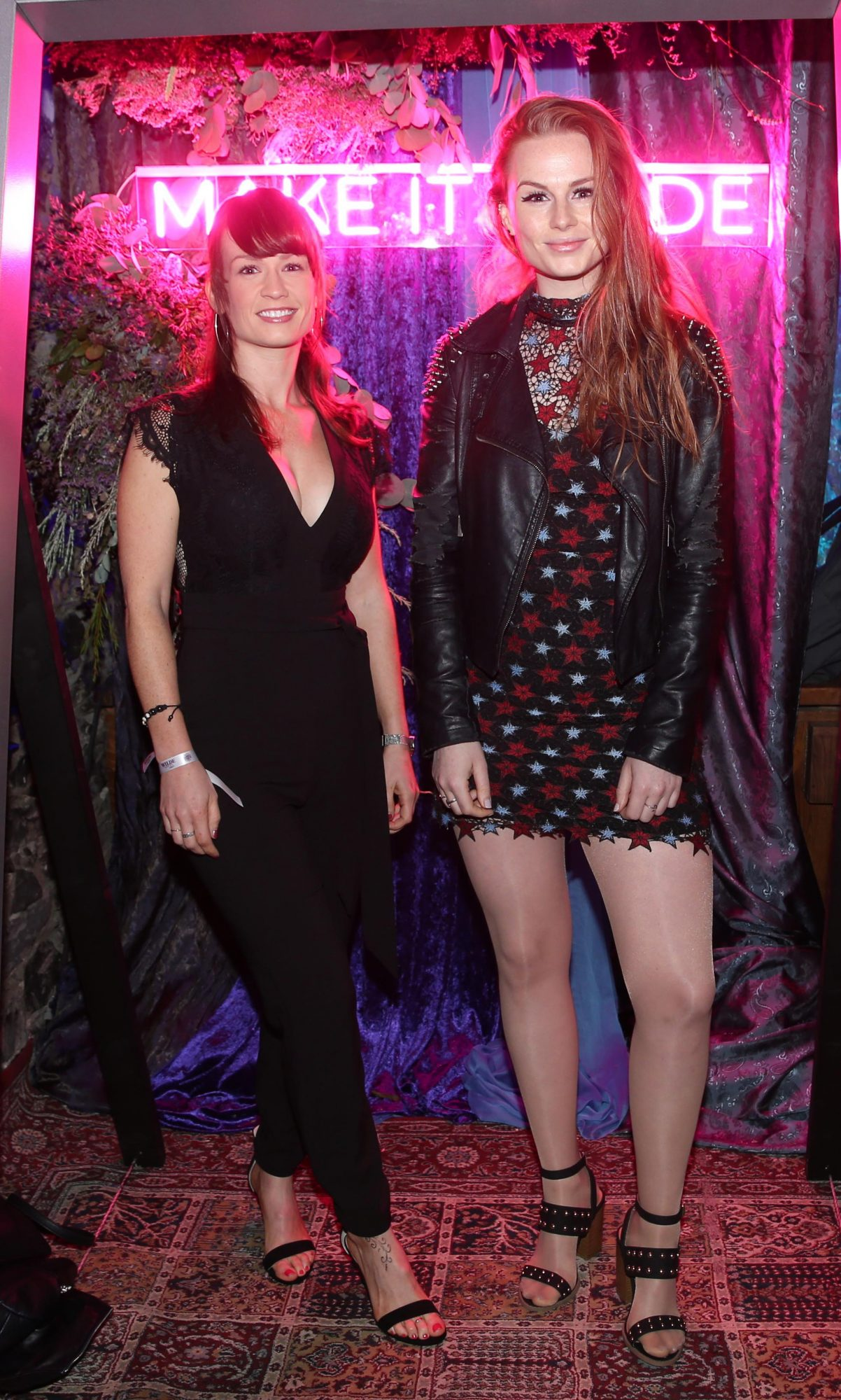 Alanna Brown and  Roseanna Brown pictured at the exclusive global launch of Wilde Irish Gin at The Cellar Bar last night. Photograph: Leon Farrell / Photocall Ireland